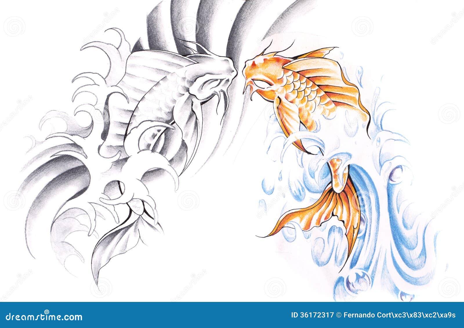 Croquis d 39 art de tatouage poisson rouge illustration - Croquis poisson ...