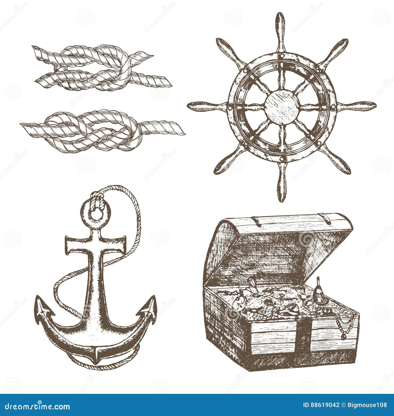 Croquis d aspiration d Equipment Set Hand de marin Vecteur