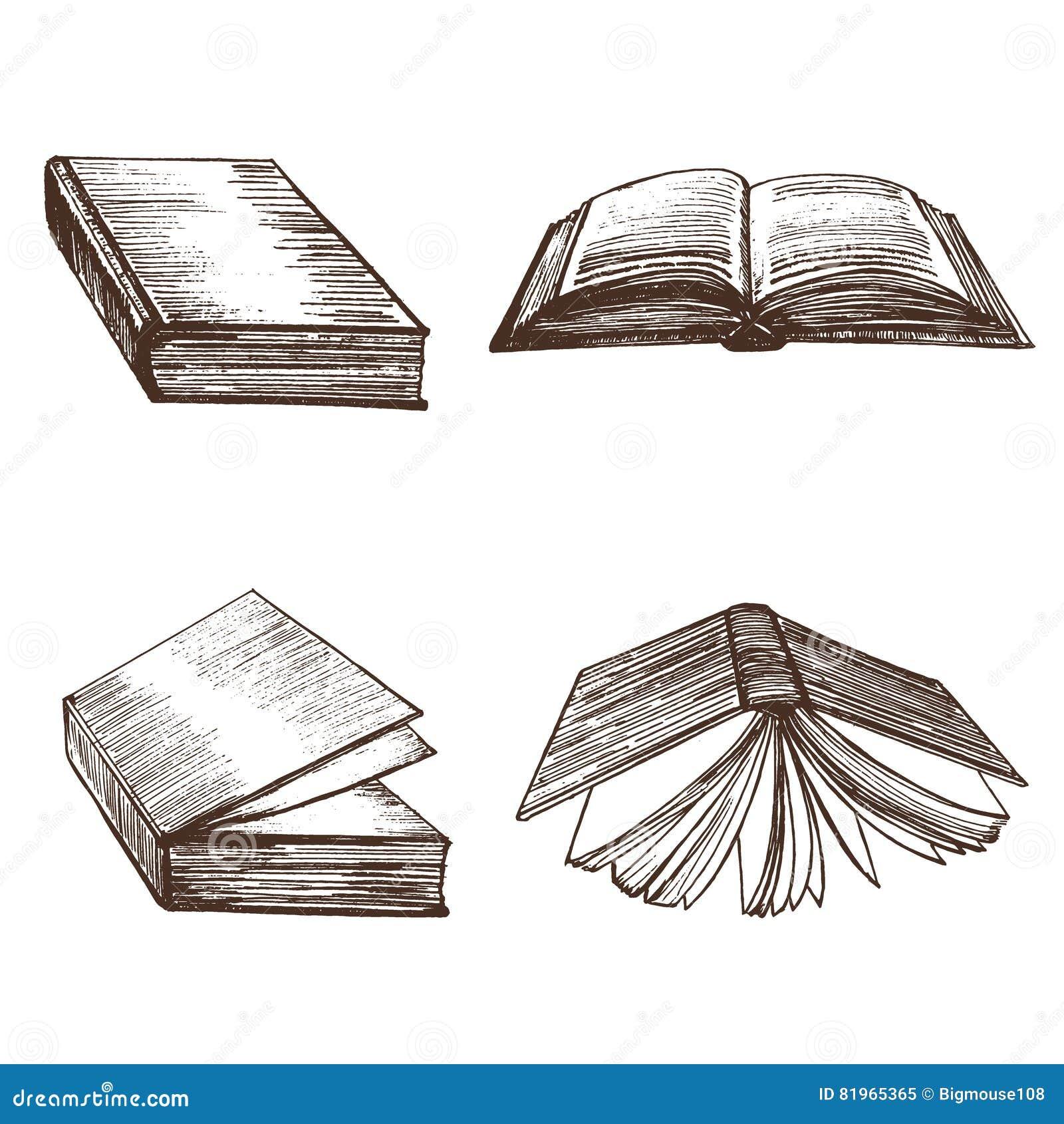 Croquis d aspiration de main de livres Vecteur
