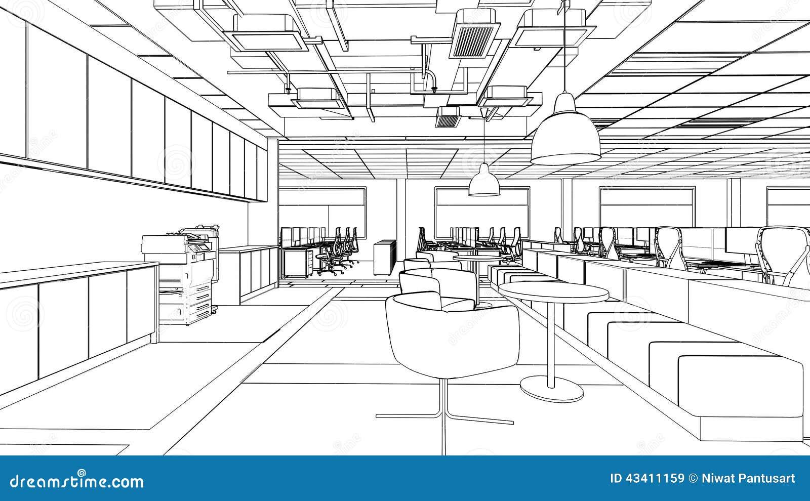 croquis d 39 ensemble d 39 un secteur int rieur d 39 office illustration stock image 43411159. Black Bedroom Furniture Sets. Home Design Ideas