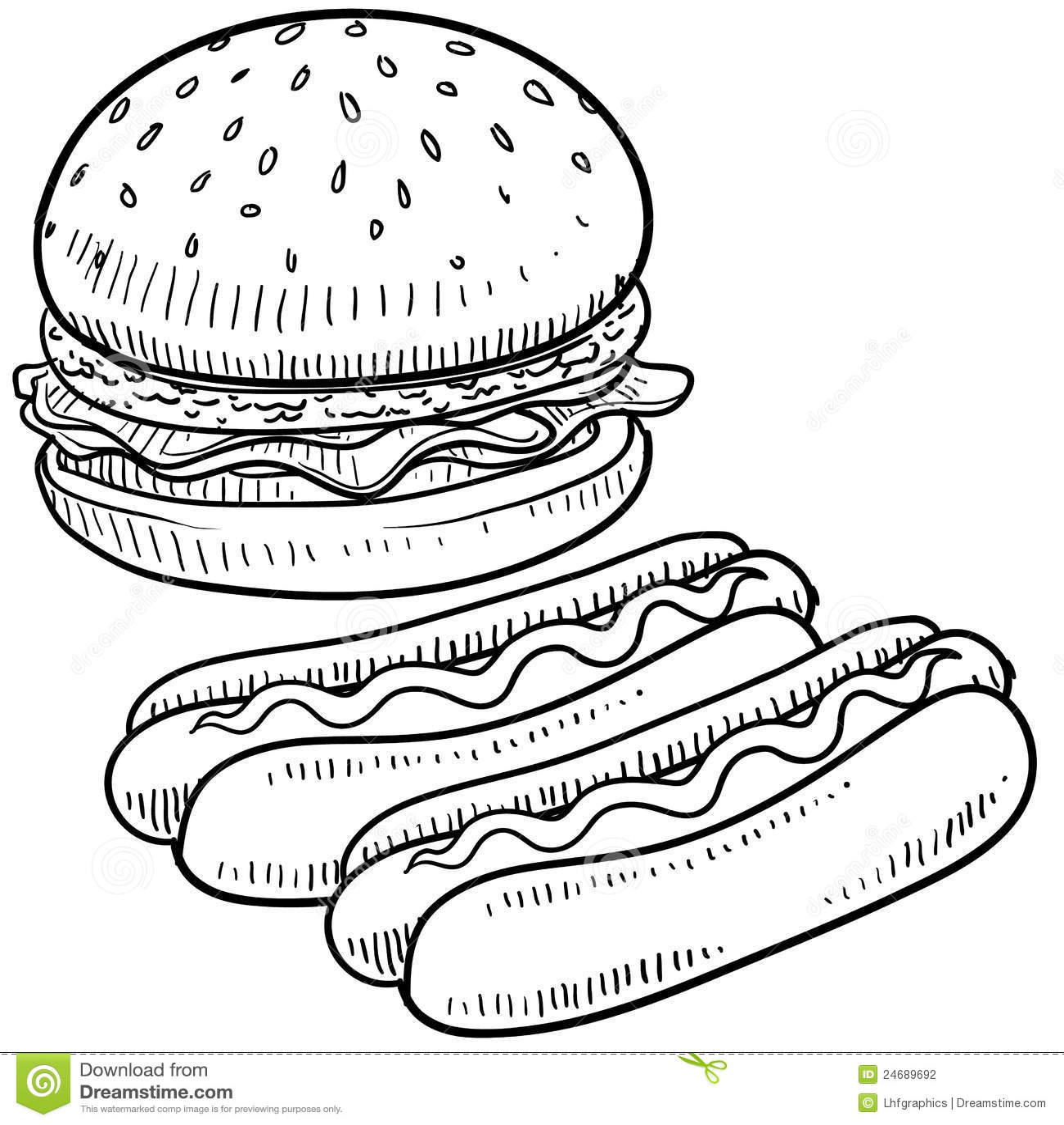 Croquis d hamburger et de hot-dog
