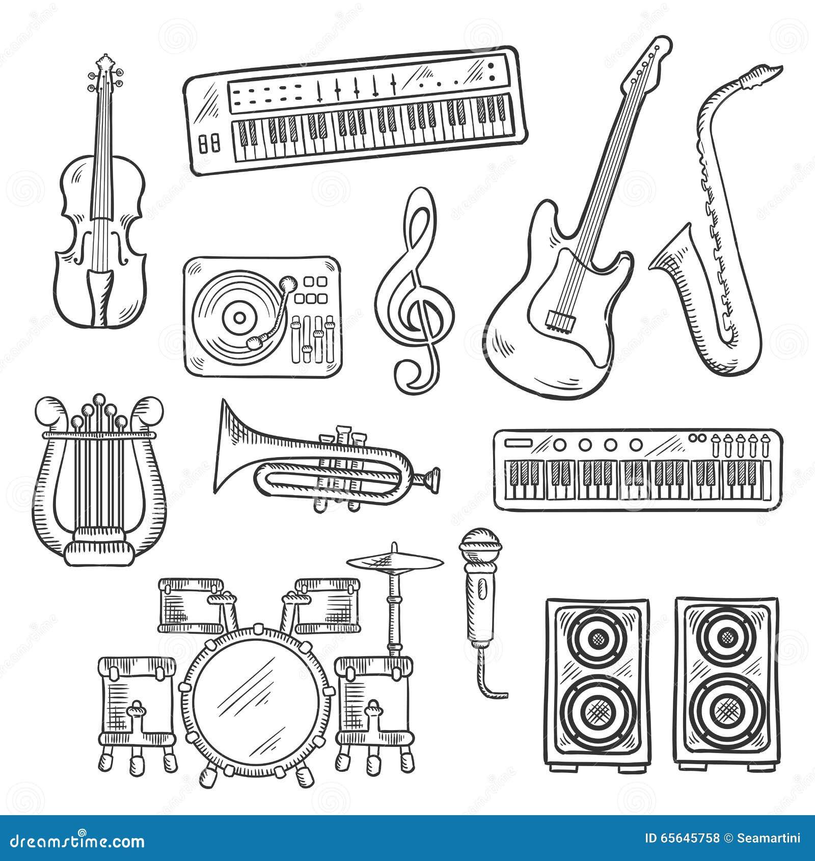 Croquis d instruments de musique et d équipements
