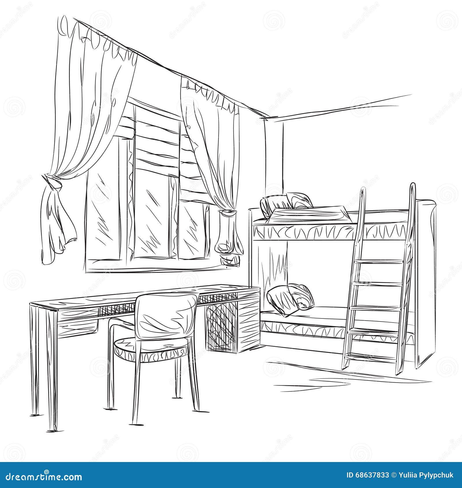 Croquis d 39 int rieur de pi ce chambre coucher avec le - Croquis chambre a coucher ...