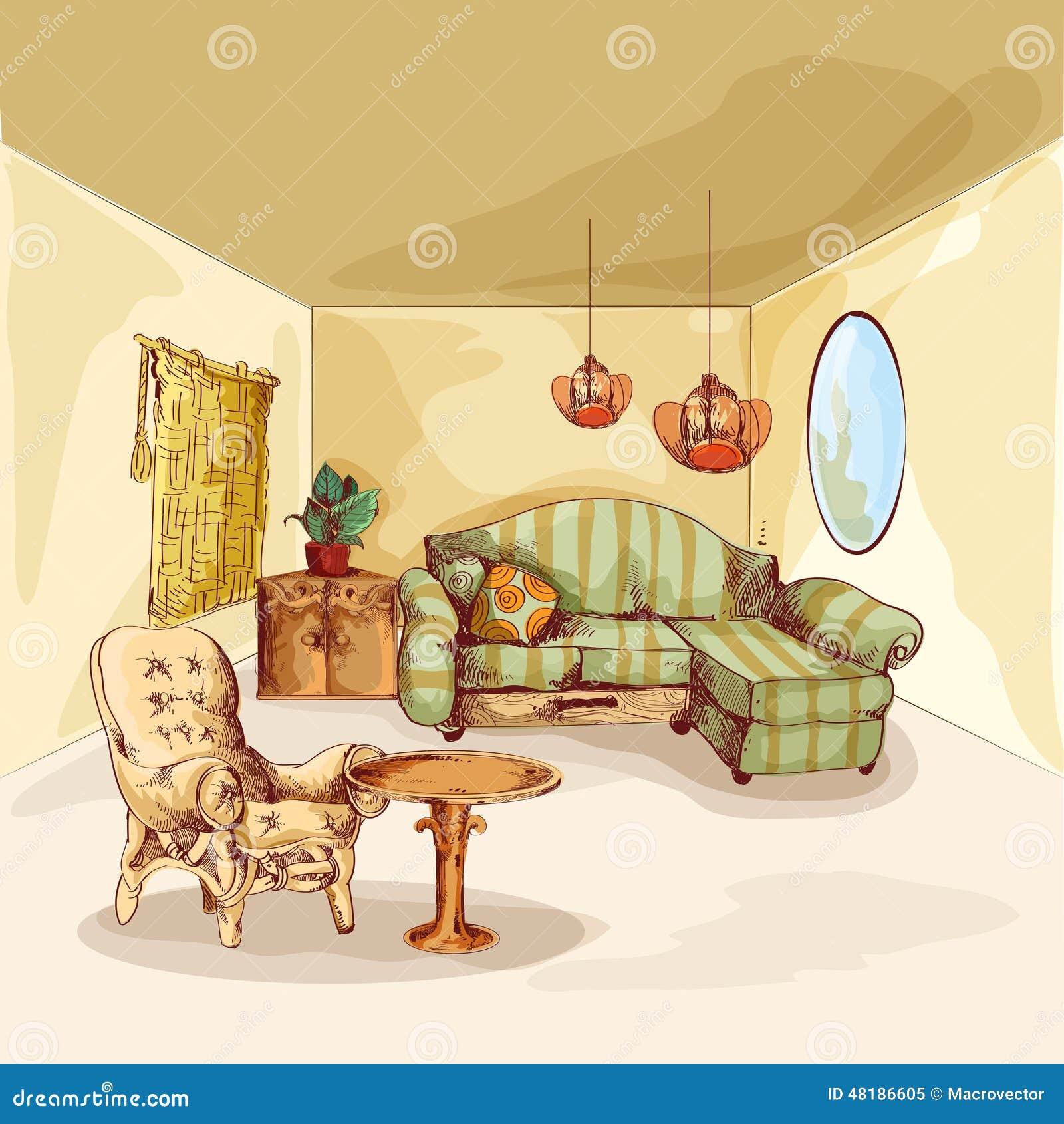 Croquis d 39 int rieur de salon illustration de vecteur for Croquis salon