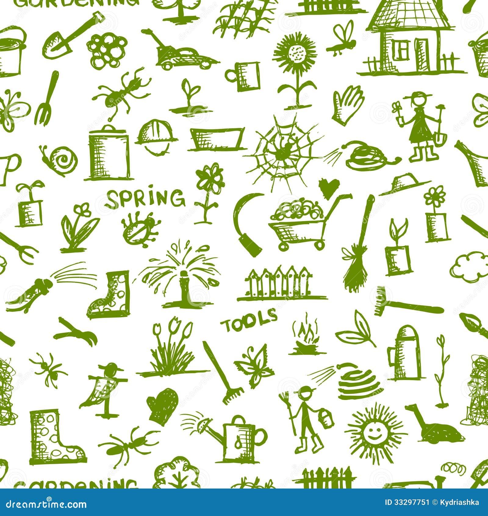 Croquis d 39 outils de jardin mod le sans couture pour le for Outil de conception jardin