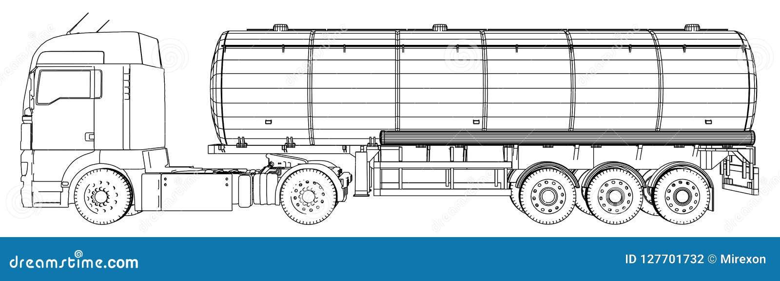 Croquis d un camion avec un vecteur de réservoir Illustration créée de 3d Fil-cadre