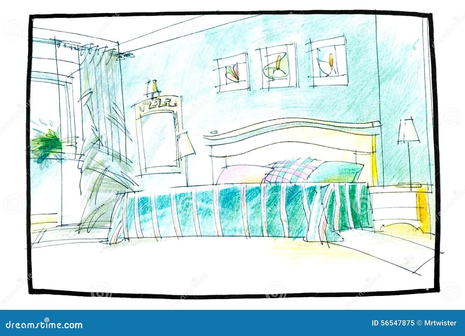 Croquis d 39 une chambre coucher photo stock image 56547875 - Croquis chambre a coucher ...
