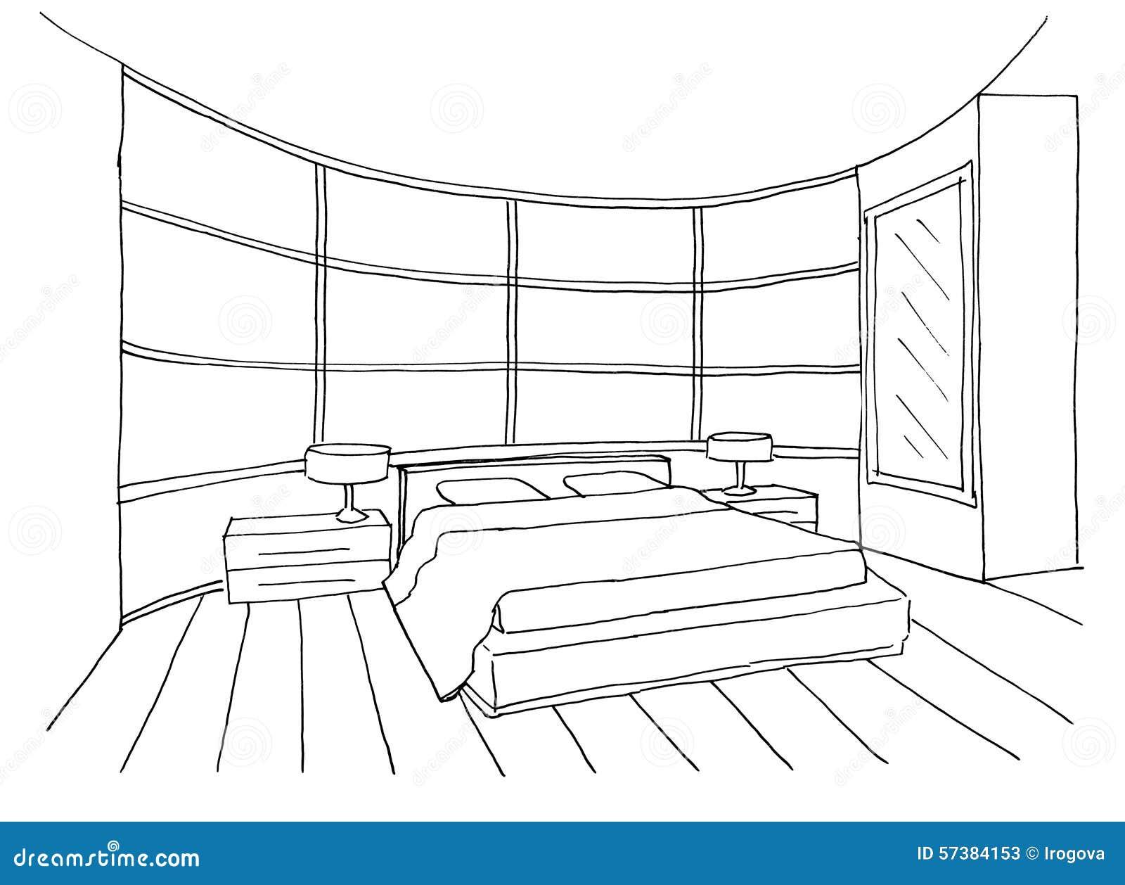Croquis d 39 une chambre coucher int rieure illustration for Croquis d une maison