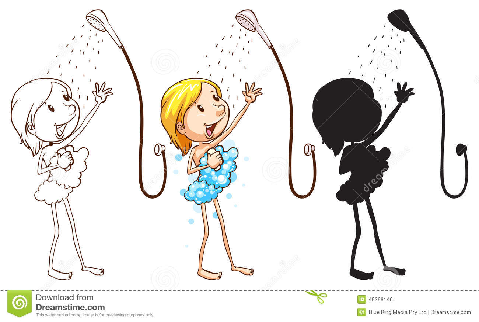 Croquis d une fille prenant la douche