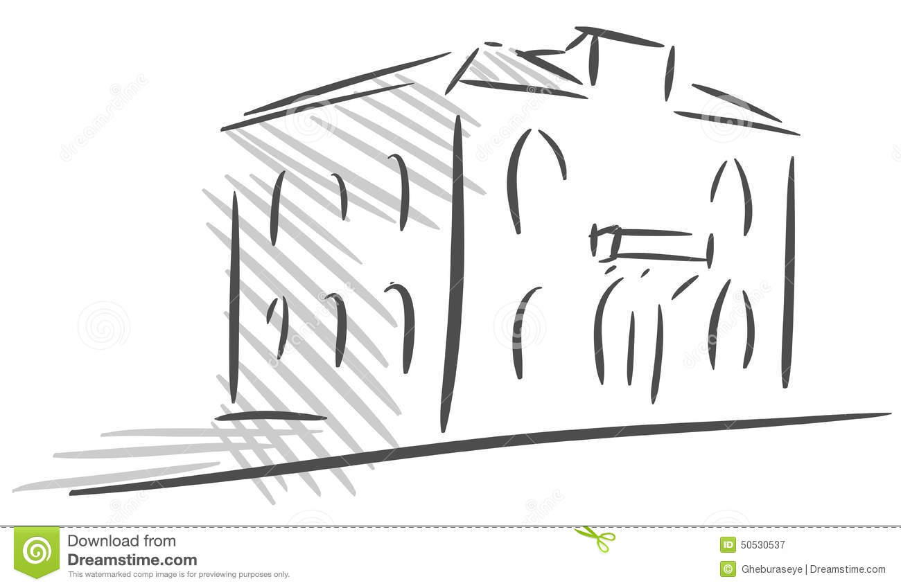 Croquis d 39 une maison stylis e d 39 isolement illustration de for Croquis de maison
