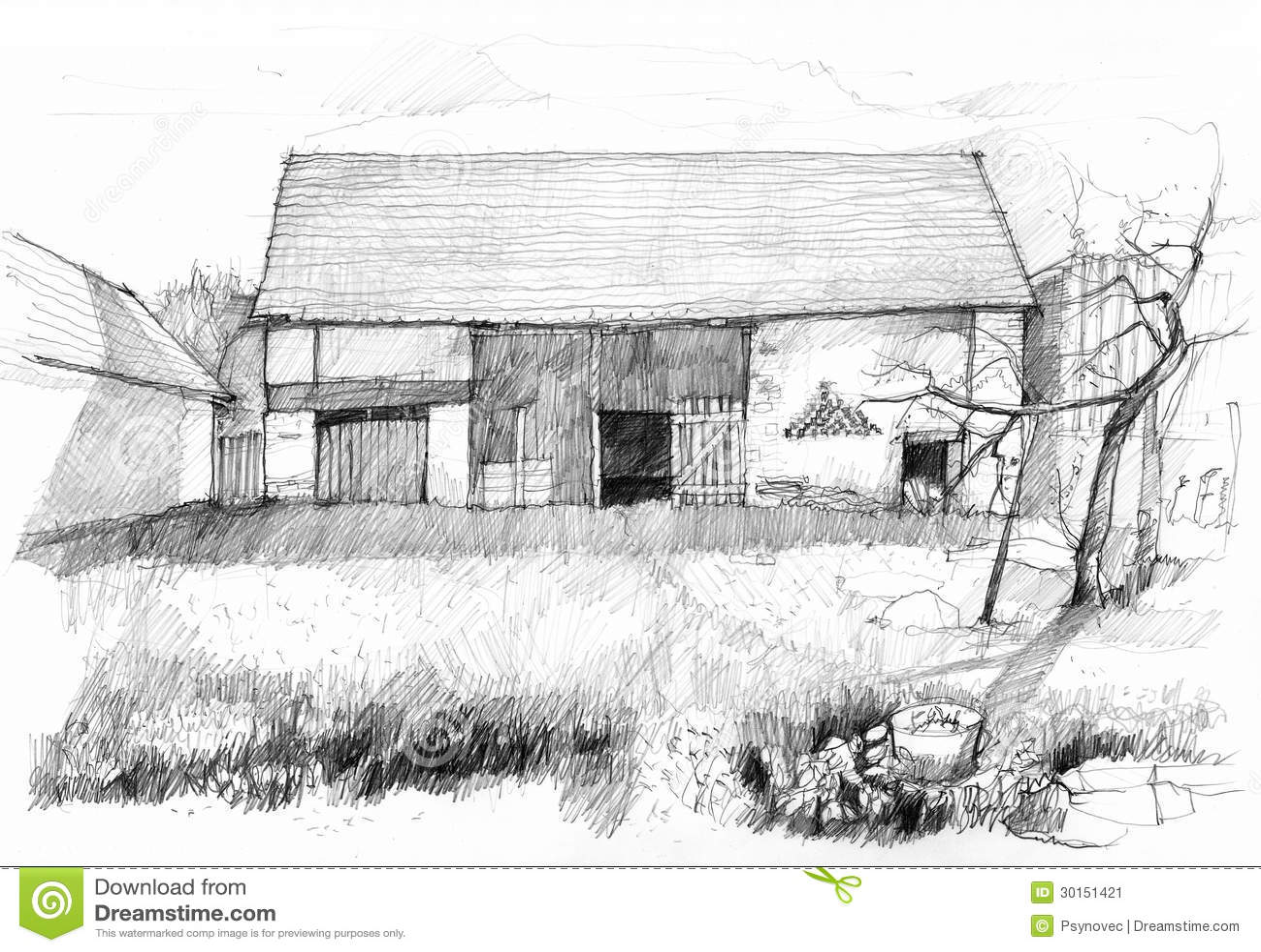 Vieille grange image stock image 30151421 for Croquis d une maison