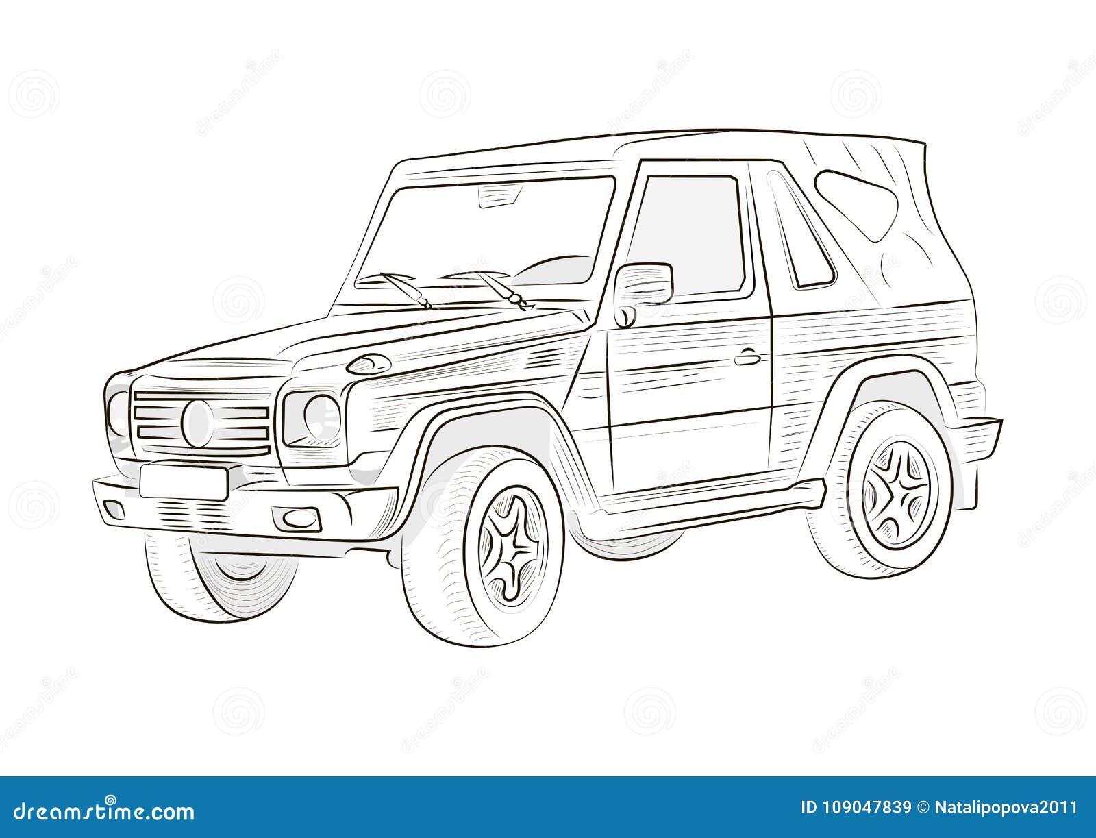 Croquis d 39 une voiture sur un fond blanc vecteur illustration de vecteur illustration du - Croquis voiture ...