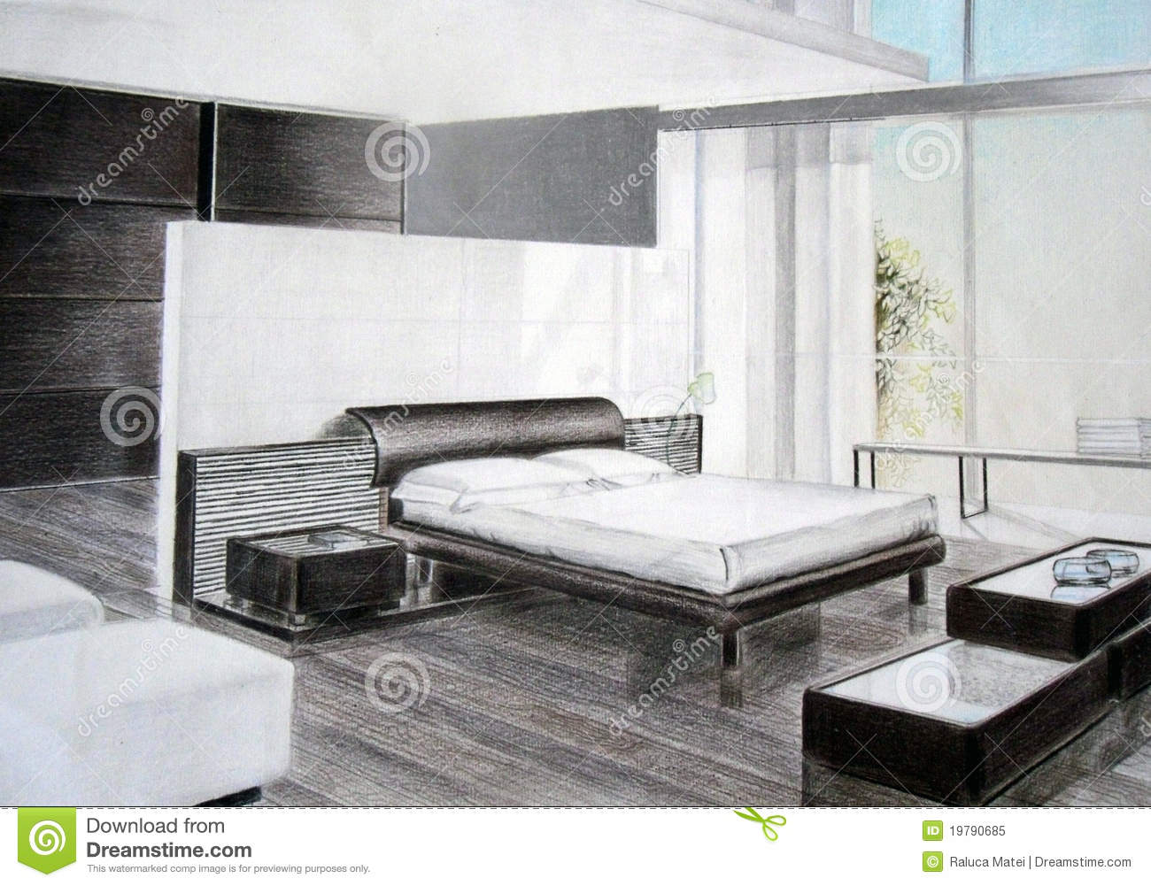 croquis de chambre coucher photo libre de droits image 19790685. Black Bedroom Furniture Sets. Home Design Ideas