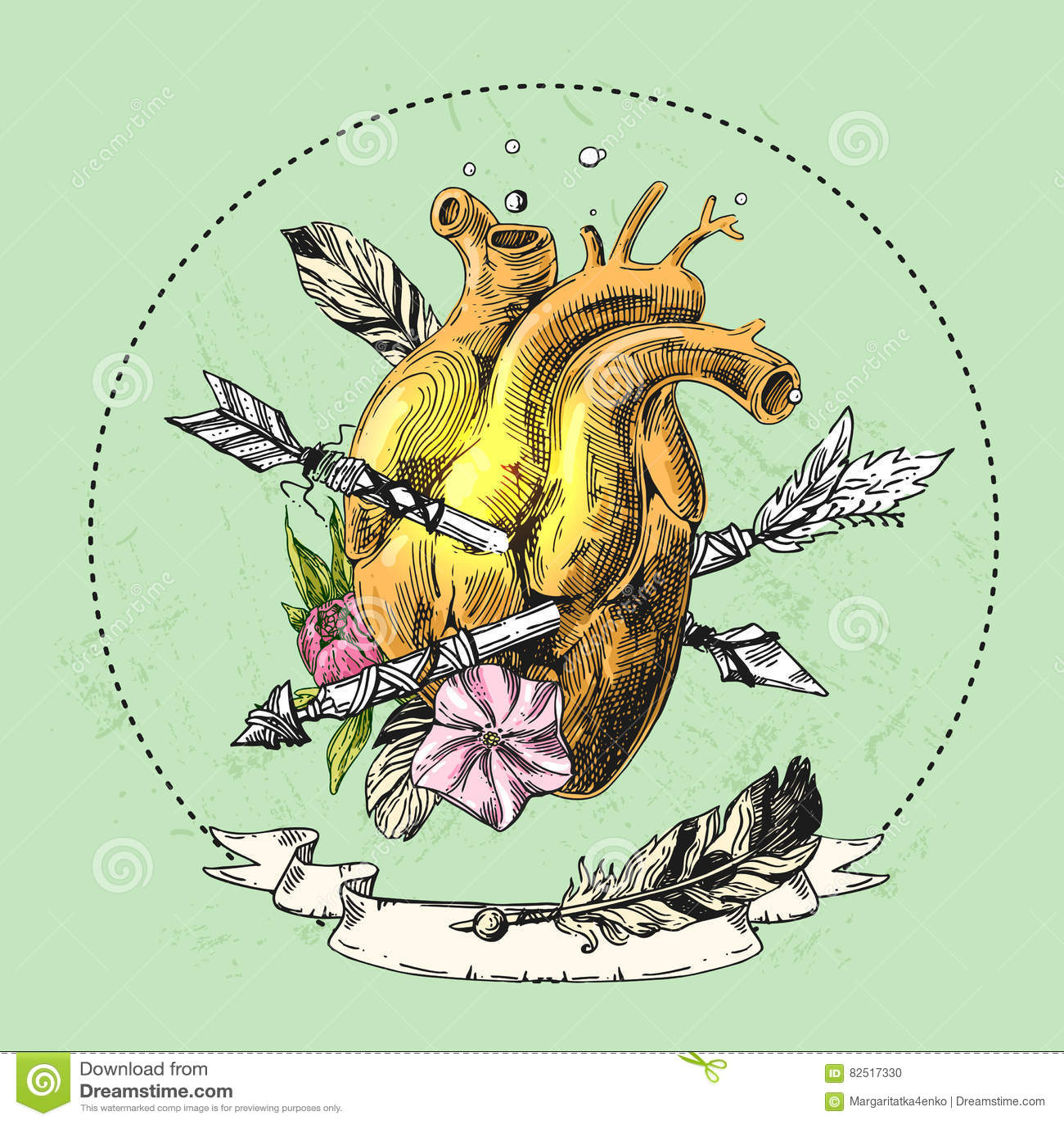 Croquis De Coeur Humain Illustration De Vecteur