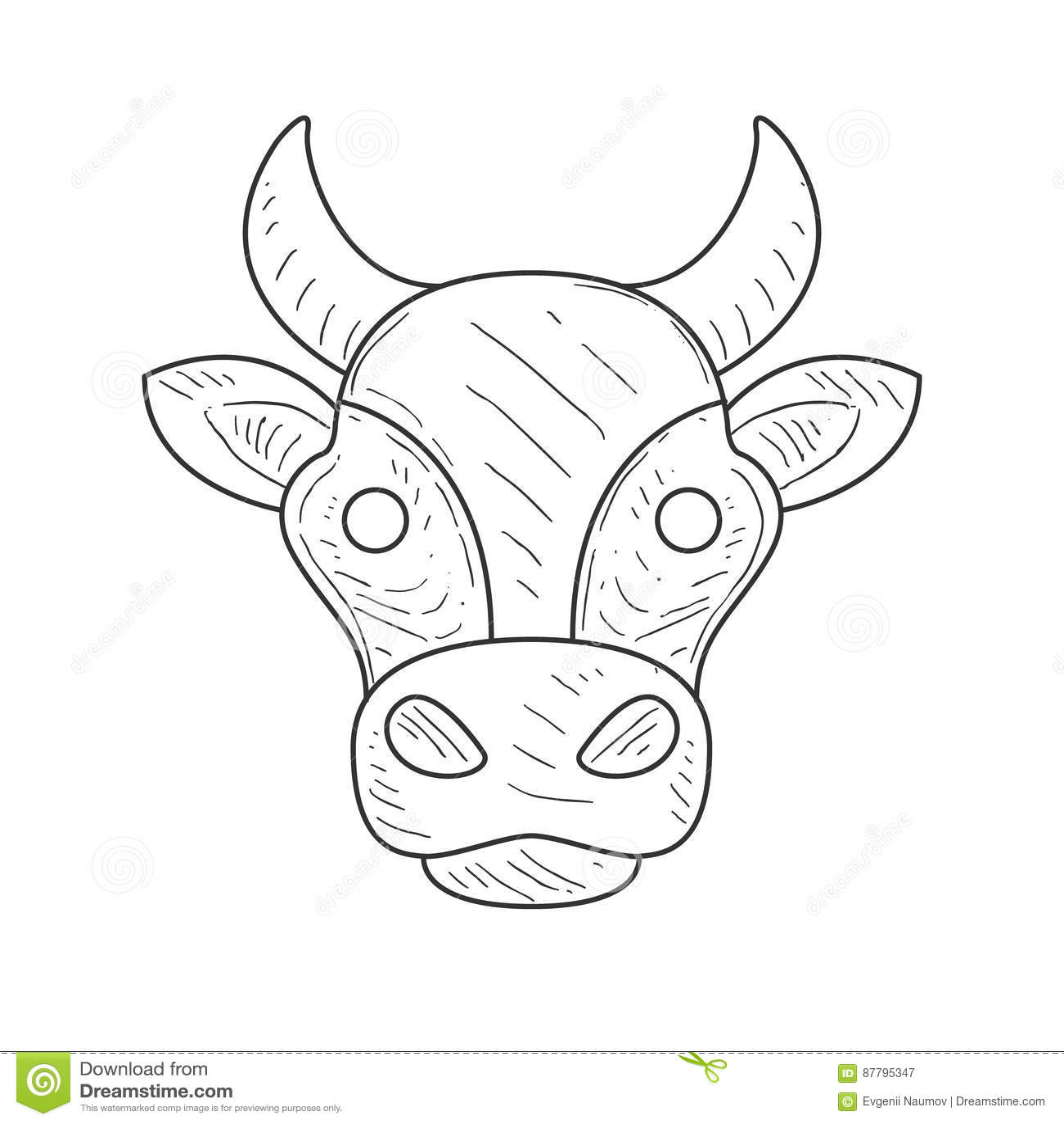 Croquis De Crayon Avec La Tête D Isolement De Vaches Dans La