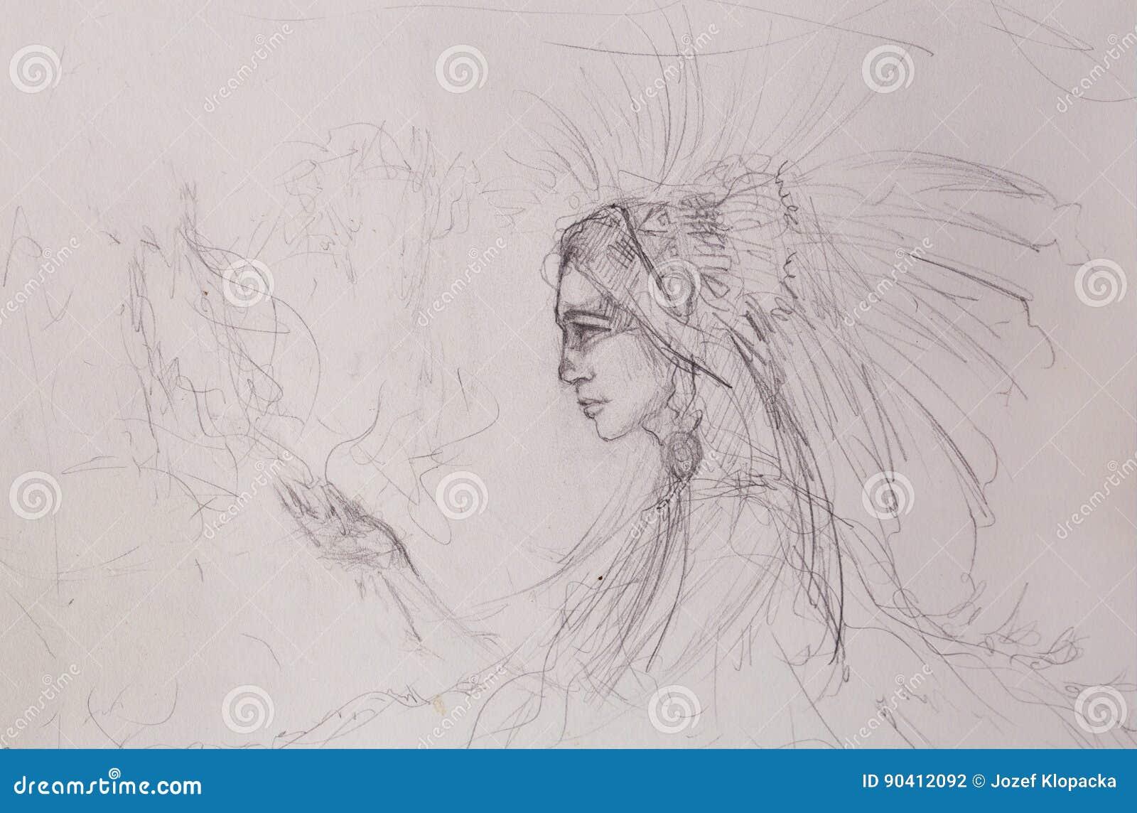 Croquis De Femme Indienne Dessin Au Crayon Sur Le Vieux Papier