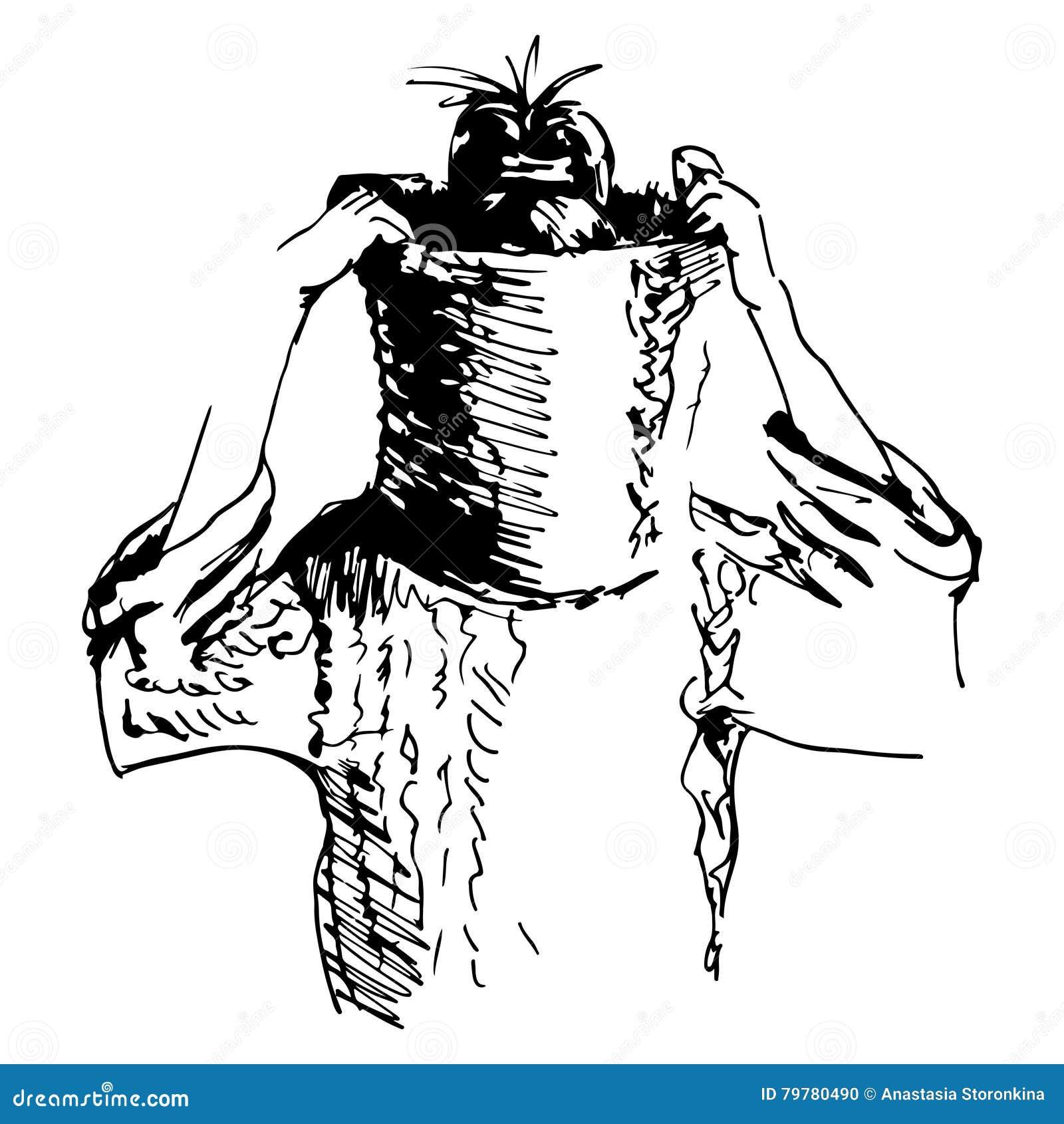 Croquis de fille dans le chandail avec la tête cachée par le collier