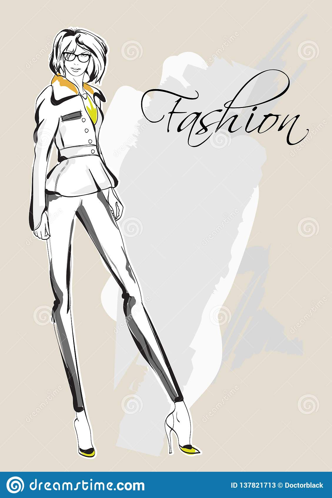 Croquis De Fille De Mode Mannequin De Dessin Illustration De