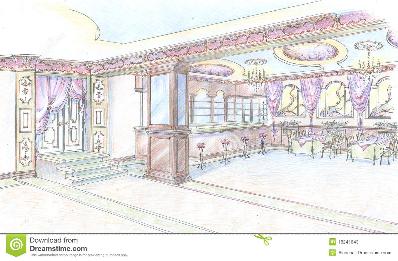 croquis de hall de restaurant avec le bar photos stock