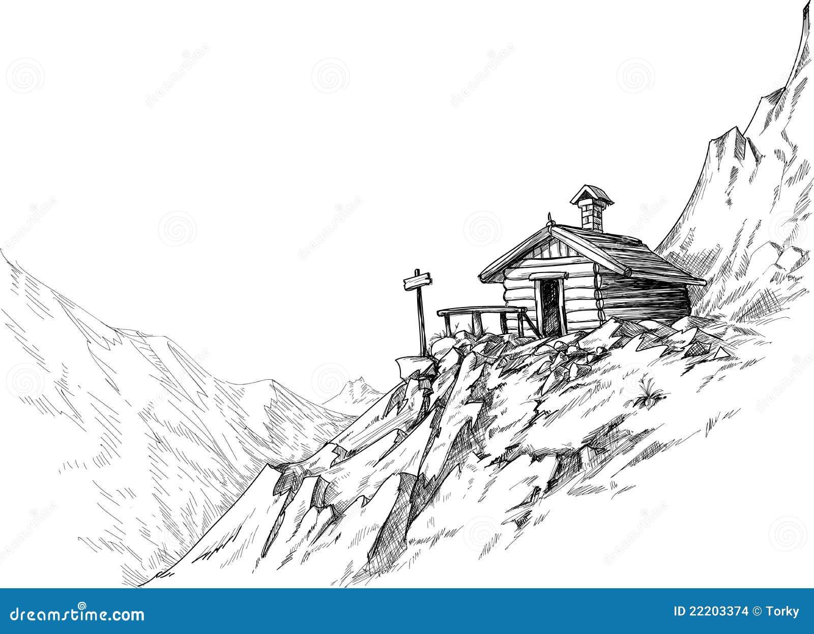 Croquis de hutte de montagne illustration de vecteur for Croquis de maison plan de maison