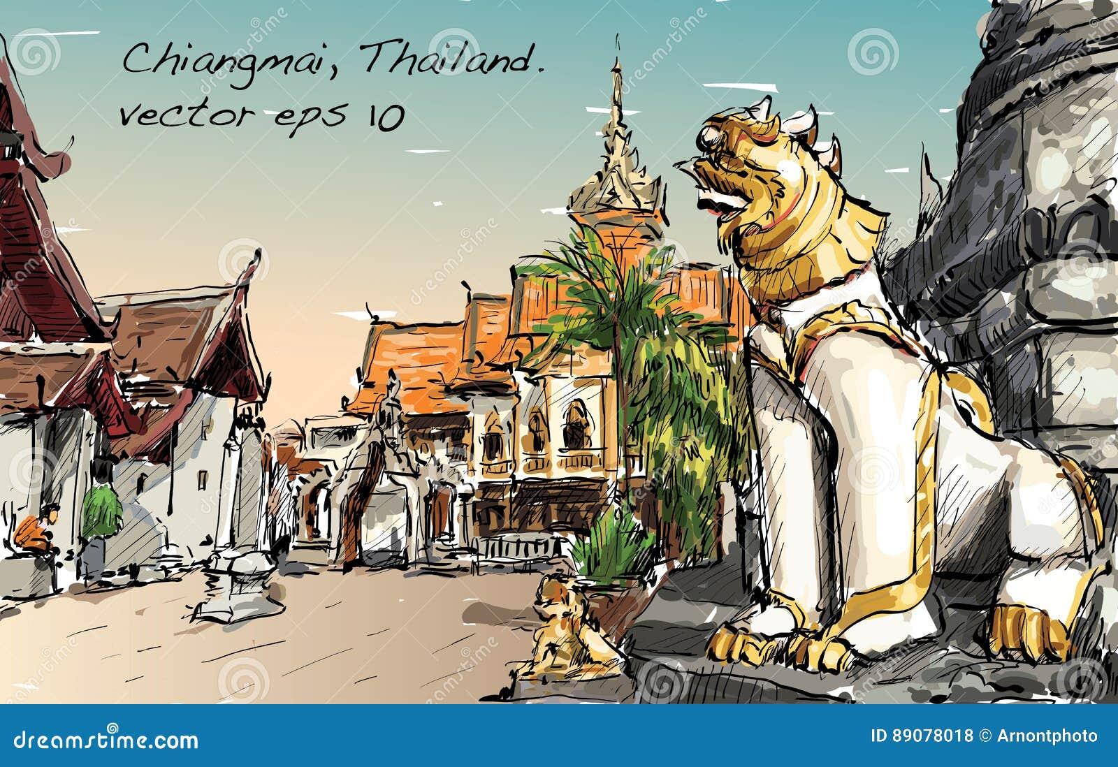 Croquis de l espace de temple de style de l Asie d exposition de paysage urbain en Thaïlande, IL