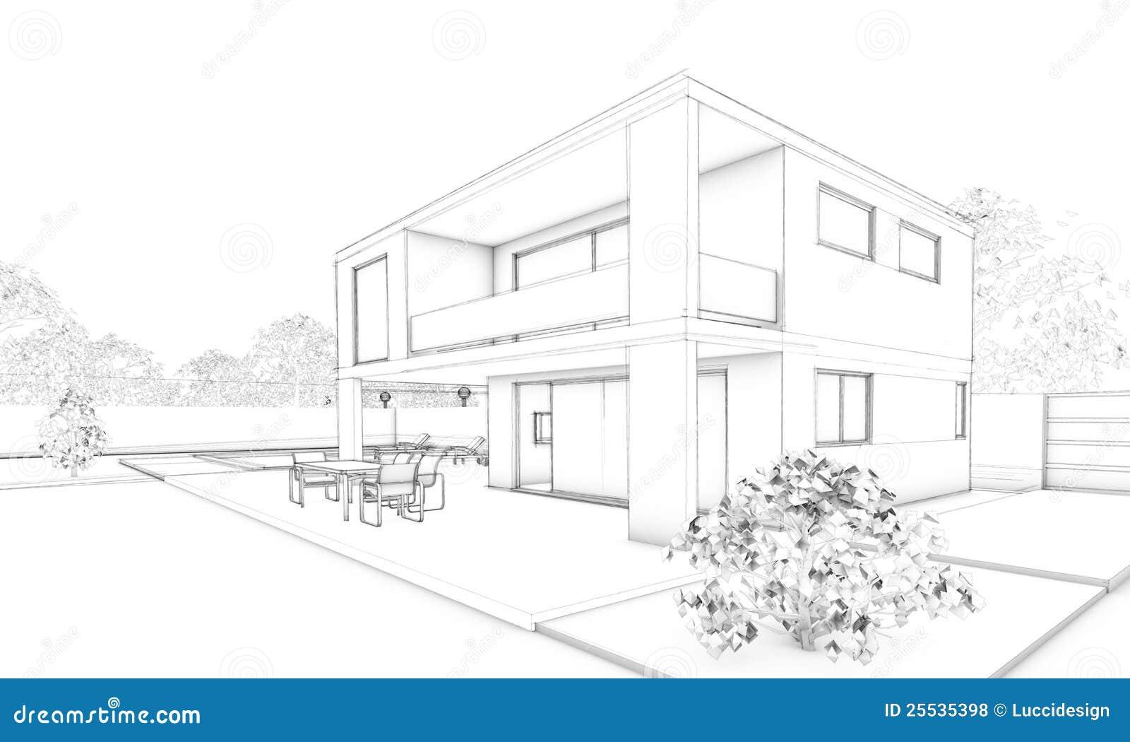 Croqui Maison : Croquis de maison moderne villa terrasse et jardin