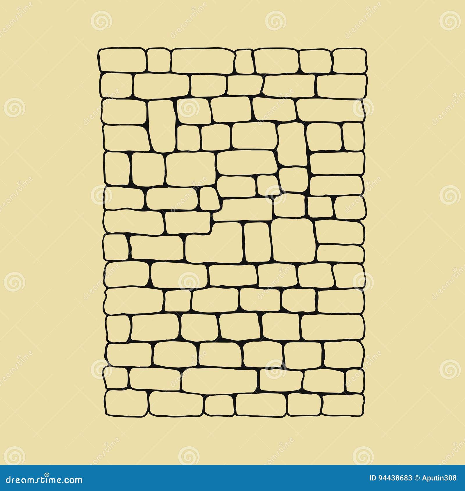 Croquis De Mur En Pierre Illustration De Vecteur De Dessin De Main
