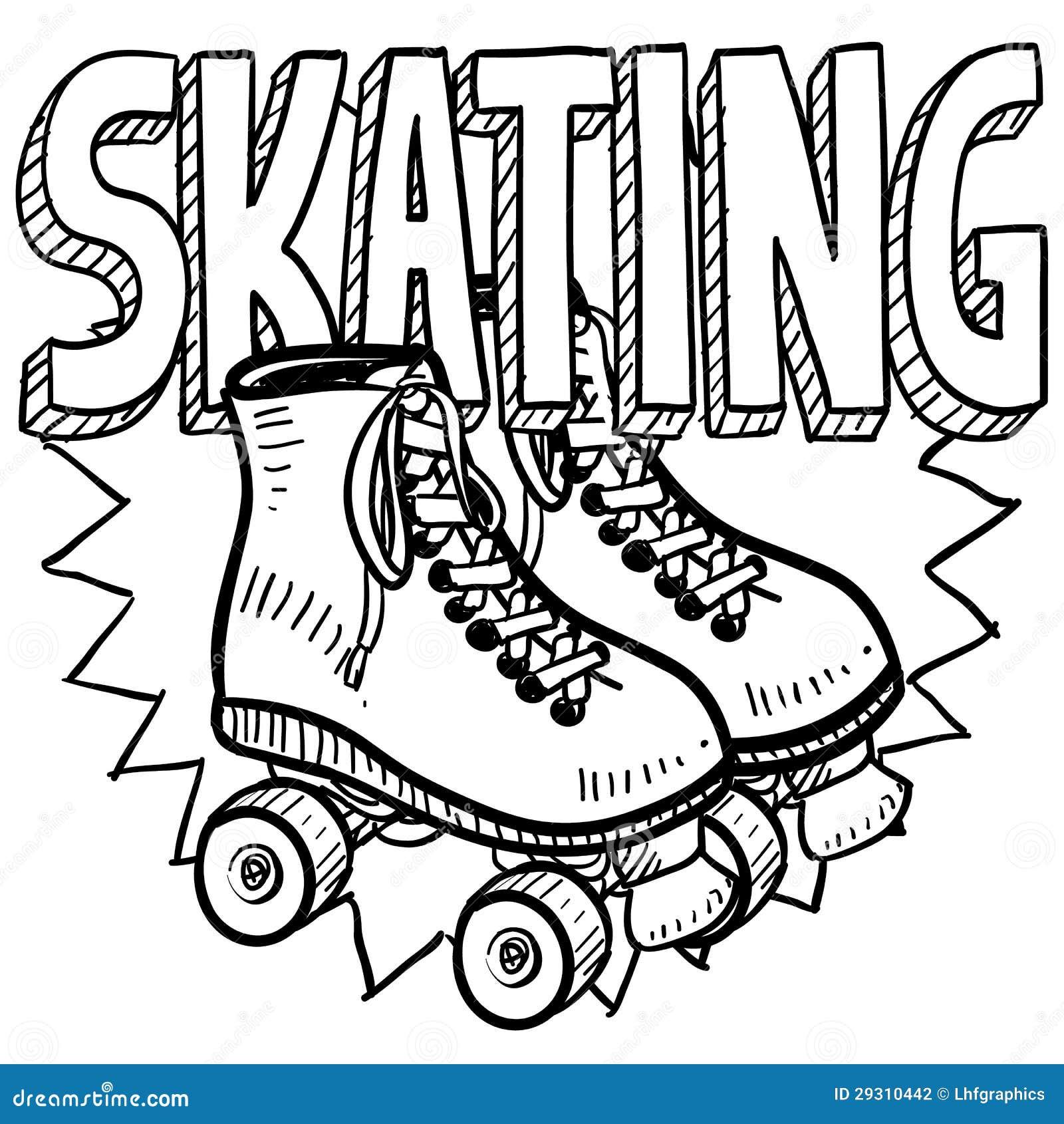 Croquis de patinage de rouleau illustration de vecteur for Patinage exterieur