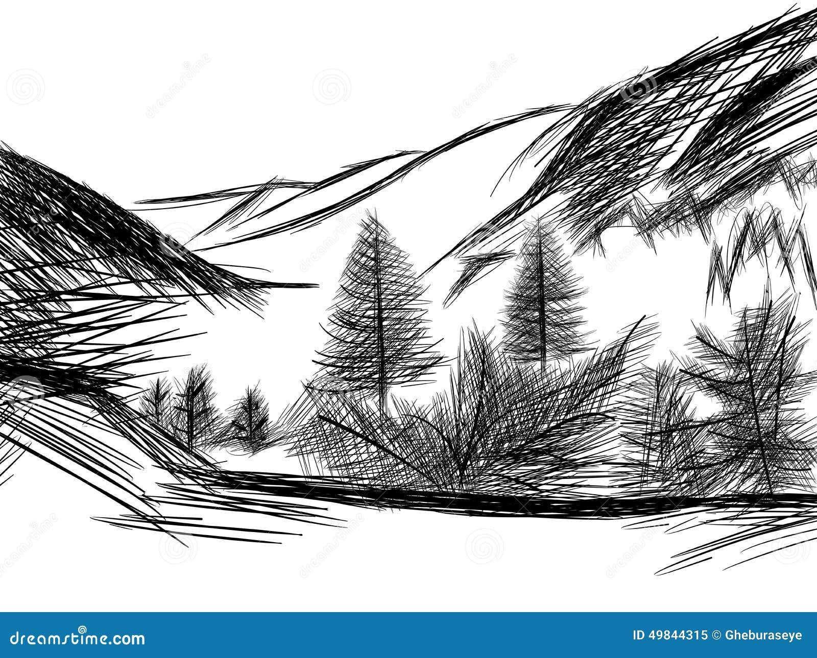 croquis de paysage de montagne en noir et blanc On croquis paysage