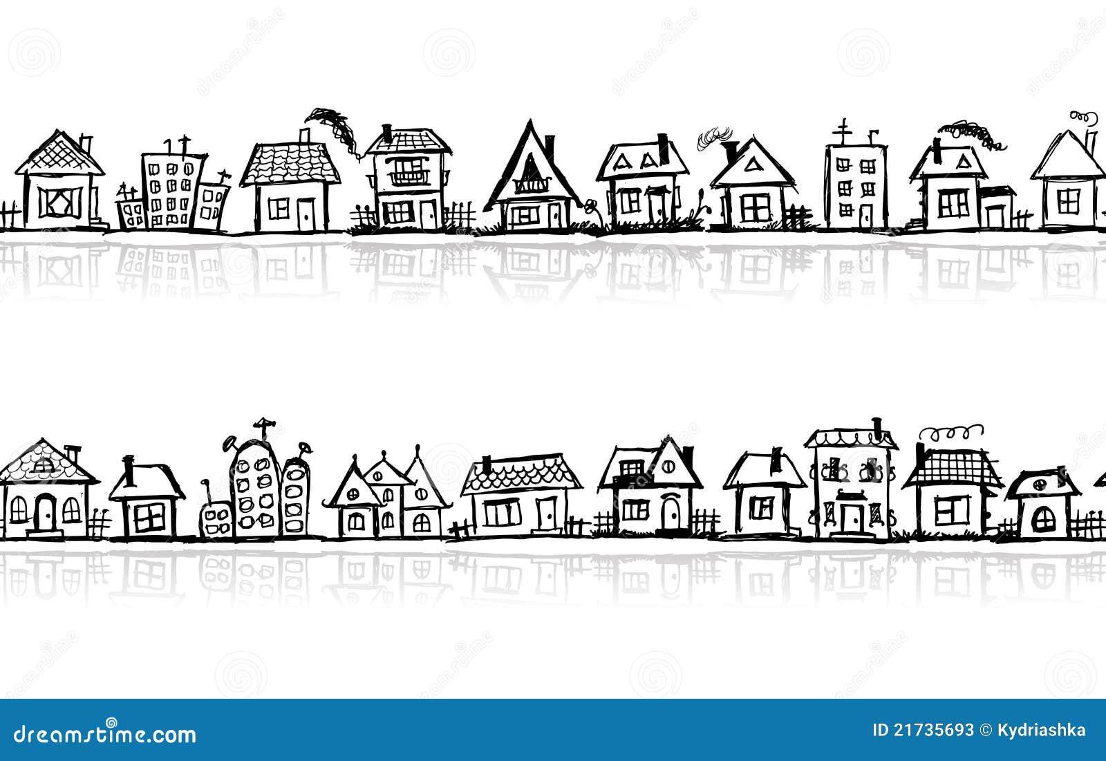 croquis de paysage urbain papier peint sans joint illustration de vecteur illustration du. Black Bedroom Furniture Sets. Home Design Ideas