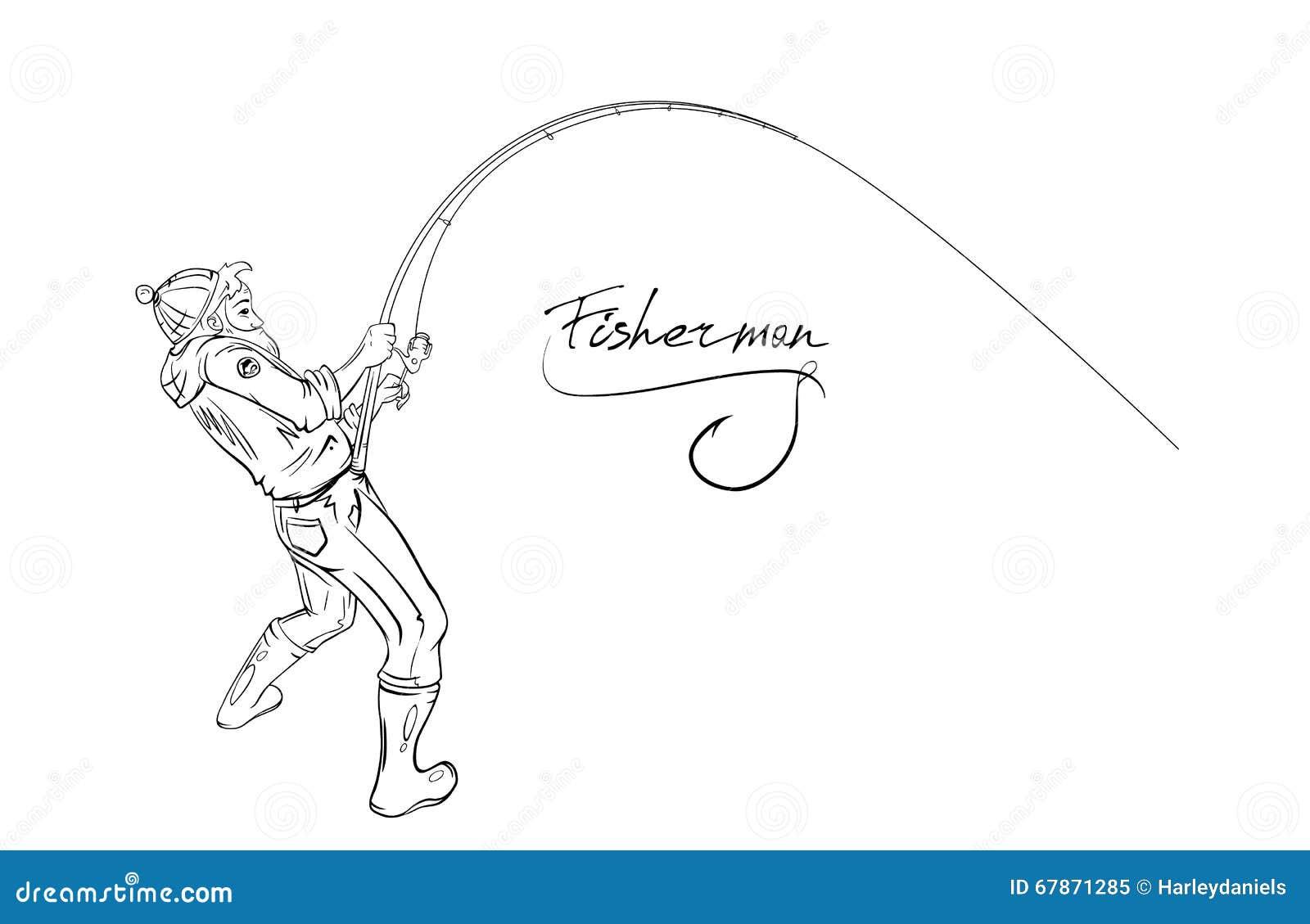 Croquis de p cheur de dessin de main illustration de - Dessin pecheur ...