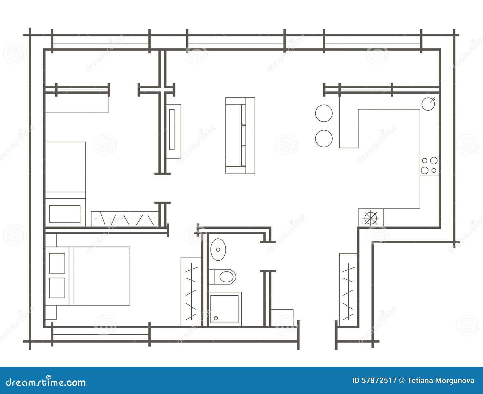 croquis de plan d 39 appartement deux chambres illustration. Black Bedroom Furniture Sets. Home Design Ideas