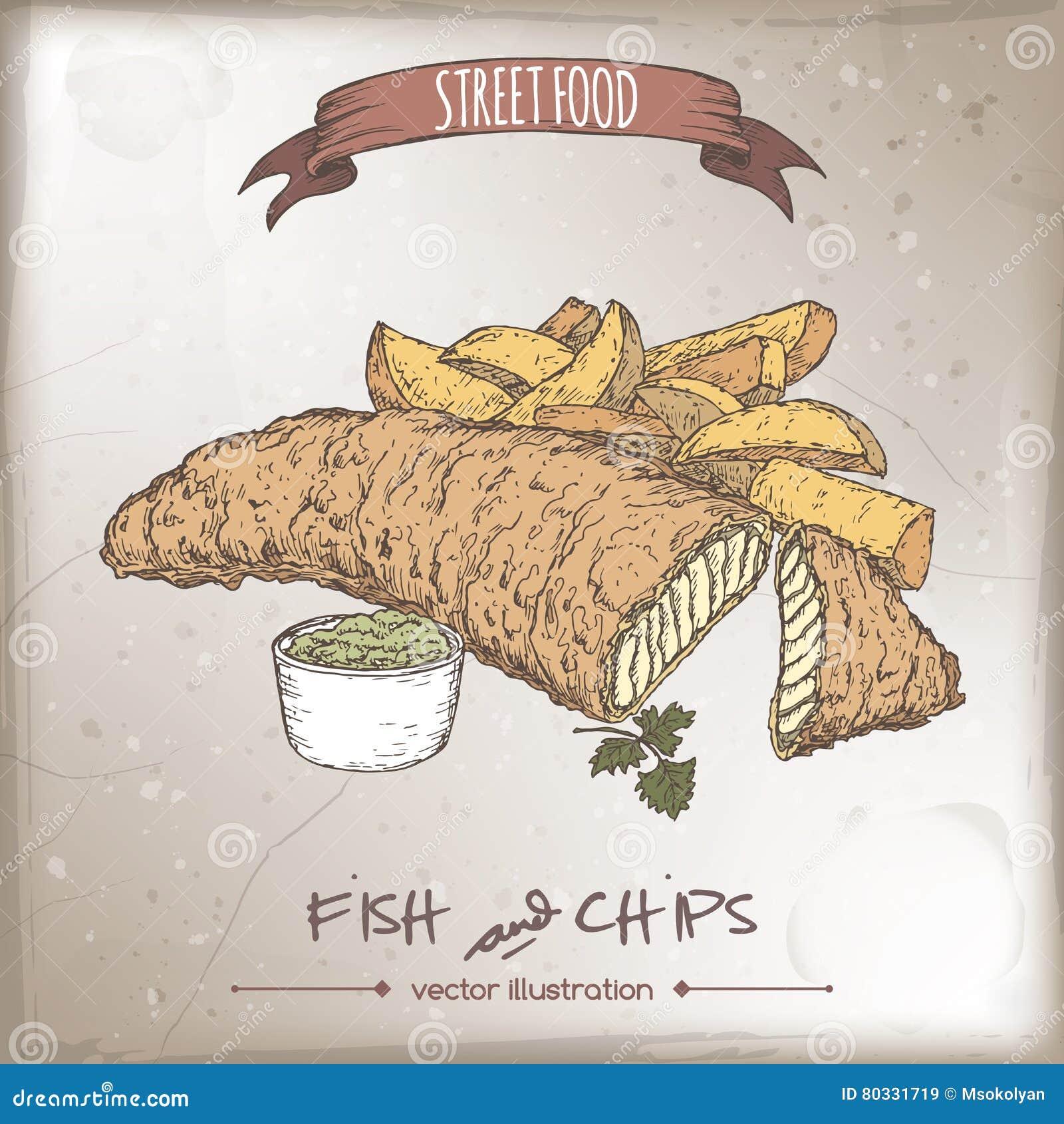 Croquis de poisson frites de couleur sur le fond de - Croquis poisson ...