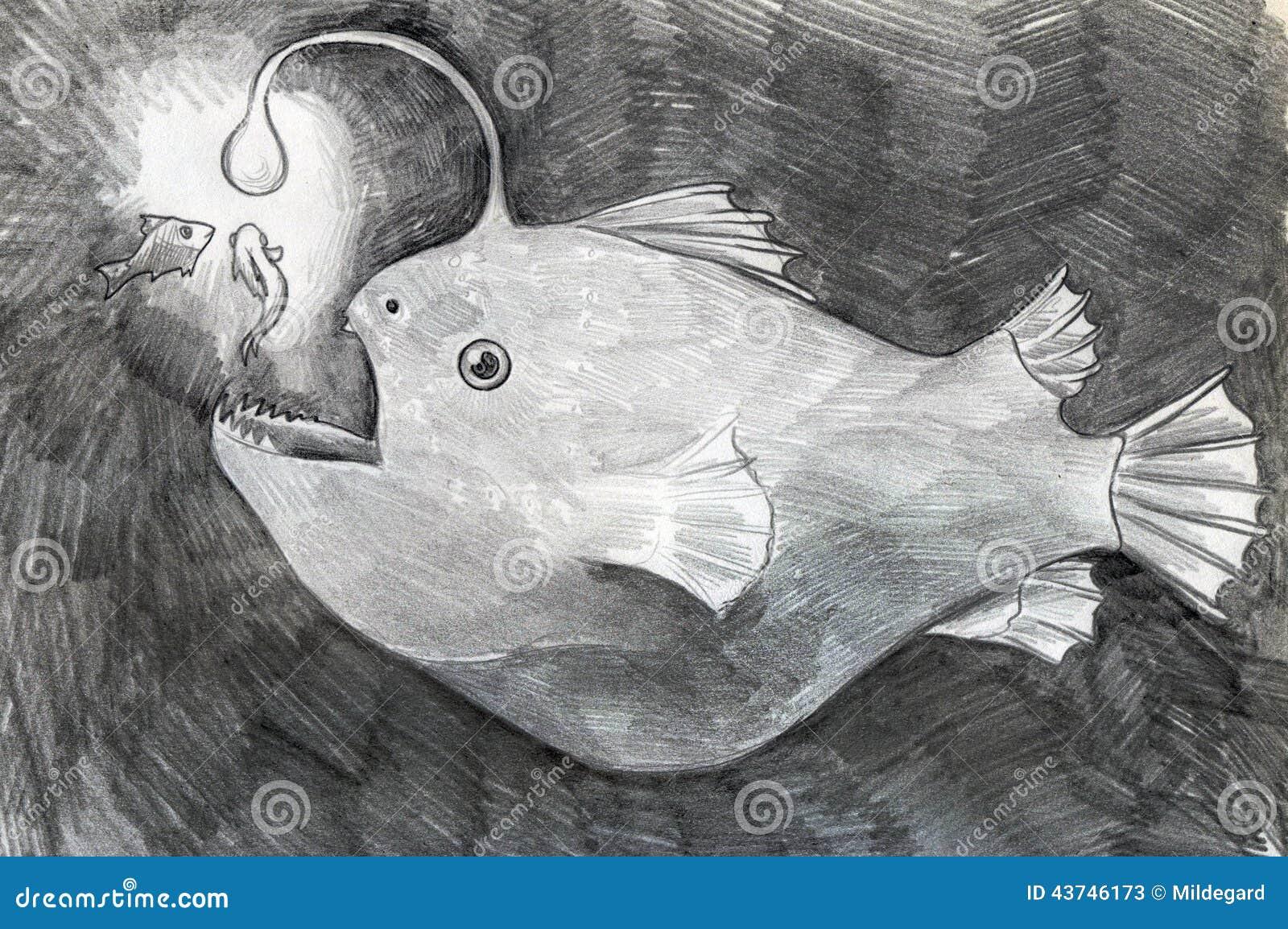 Croquis de poissons d 39 eau profonde illustration stock - Croquis poisson ...
