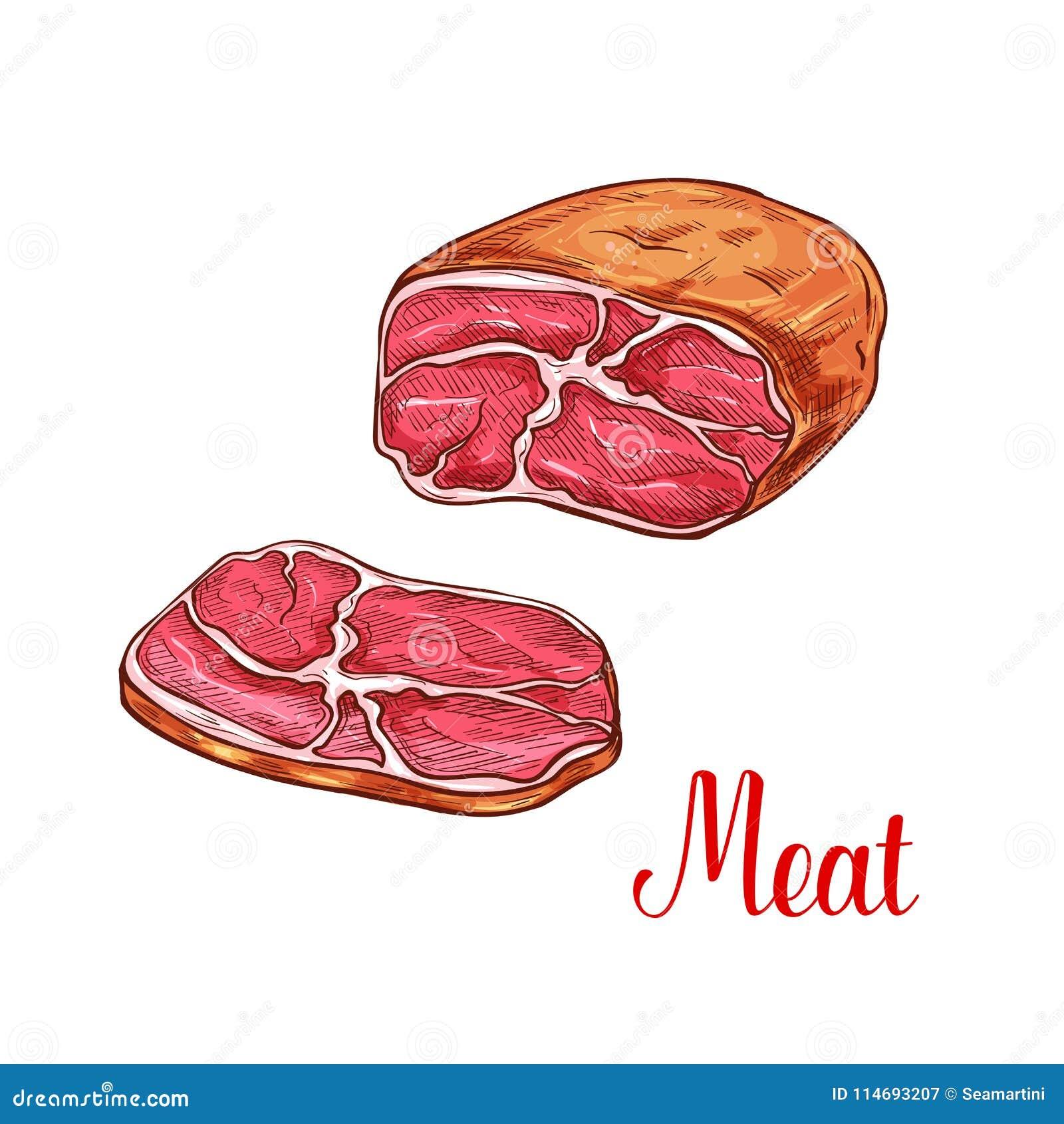 Croquis de poitrine de viande avec la tranche de boeuf ou de porc