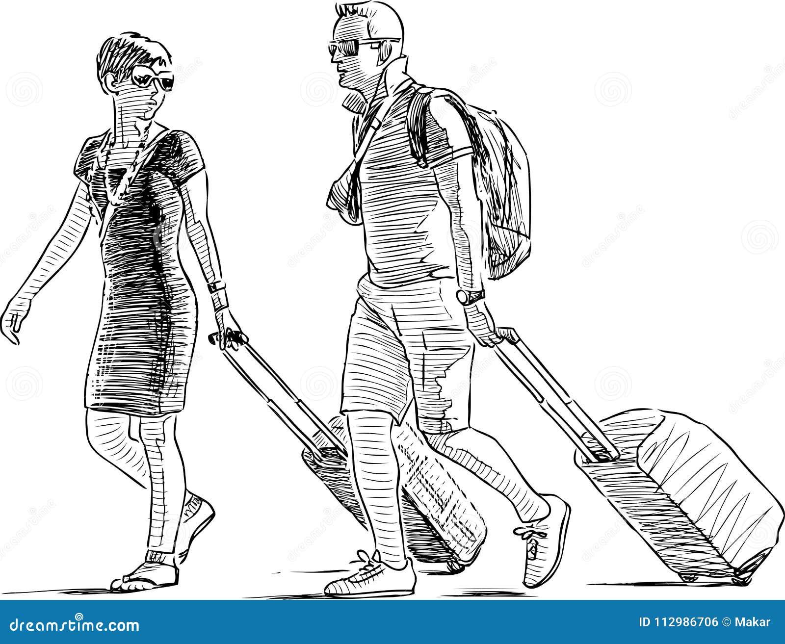 Croquis de quelques vacances avec le bagage