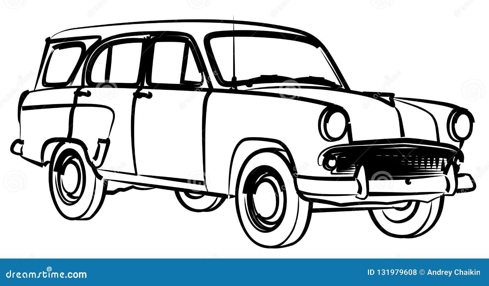 Croquis de r tro voiture illustration de vecteur illustration du coloration 131979608 - Croquis voiture ...