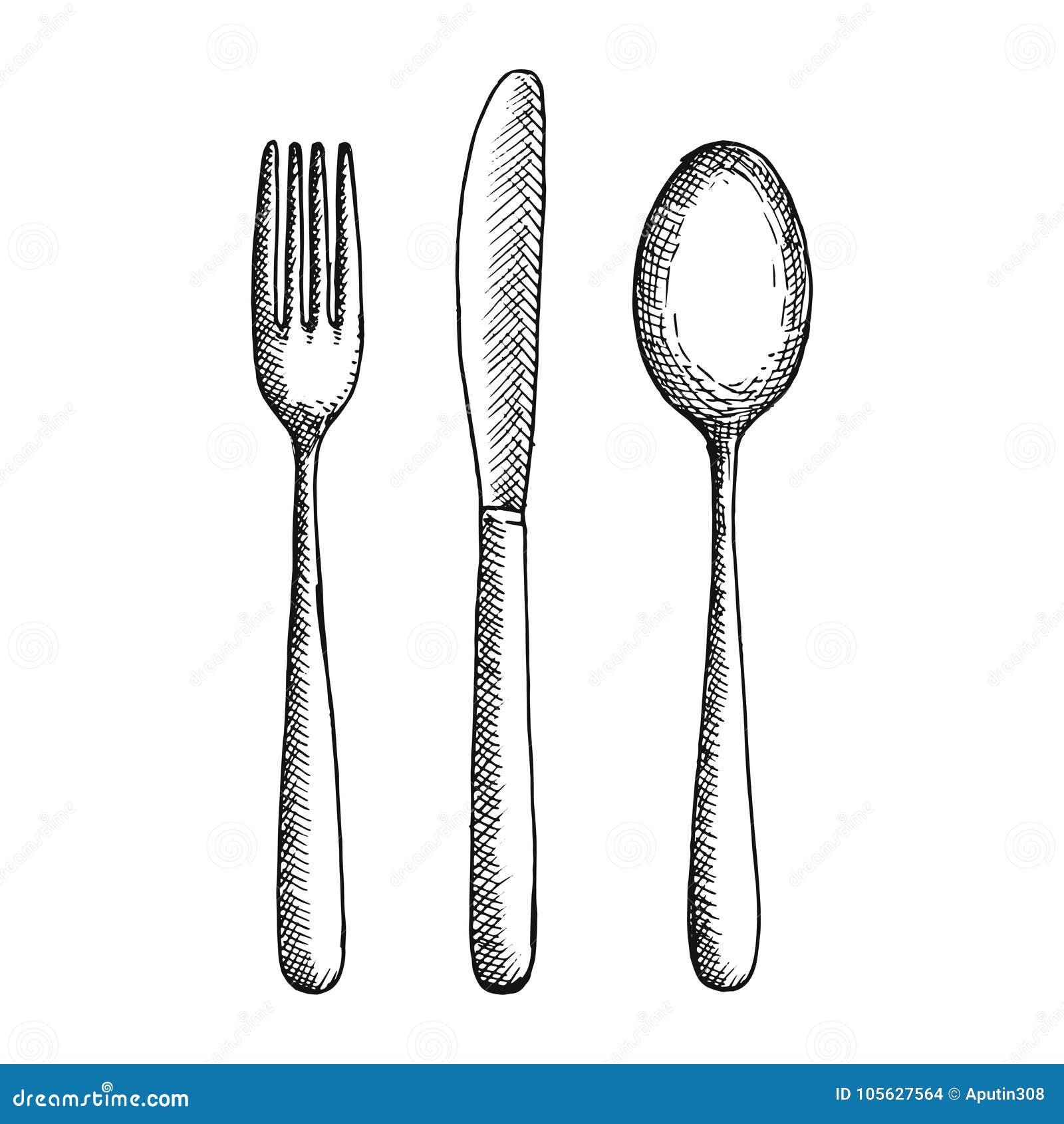 Croquis de vecteur de couverts de couteau et de cuill re de fourchette dessin de main d - Cuillere dessin ...