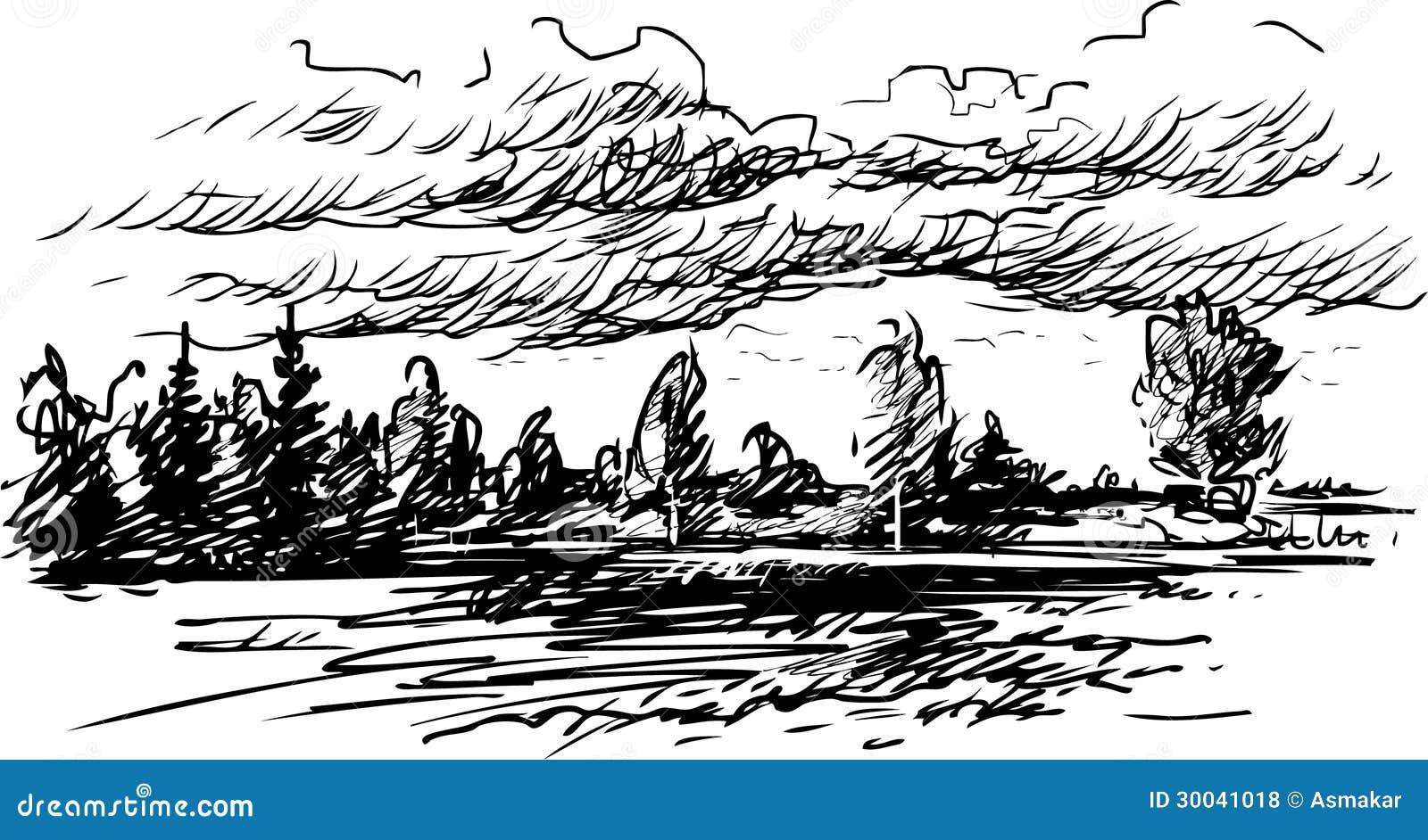 Paysage de dessin photos libres de droits image 30041018 - Dessiner un paysage d hiver ...