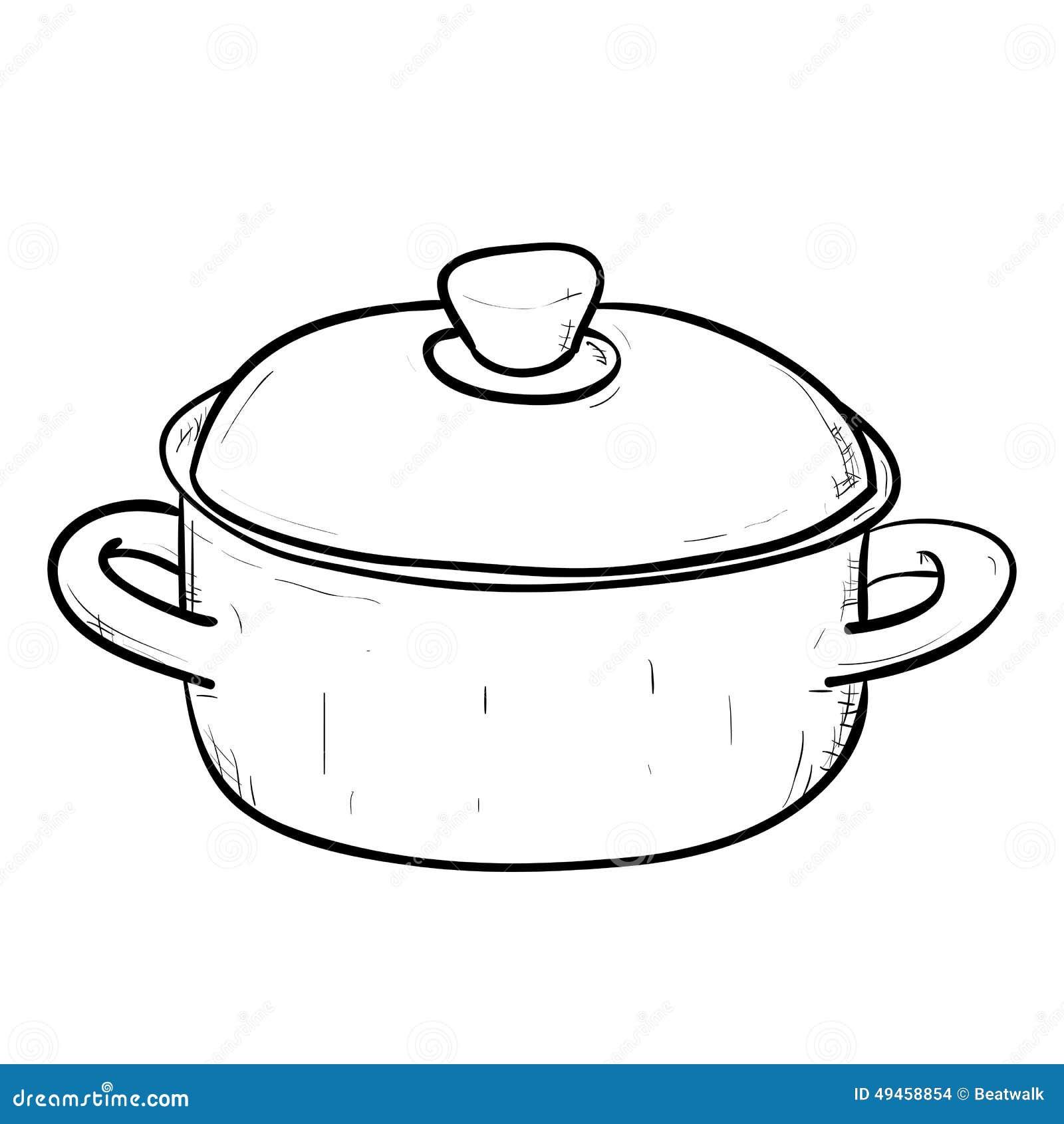 Croquis de vecteur de casserole de griffonnage - Casserole dessin ...