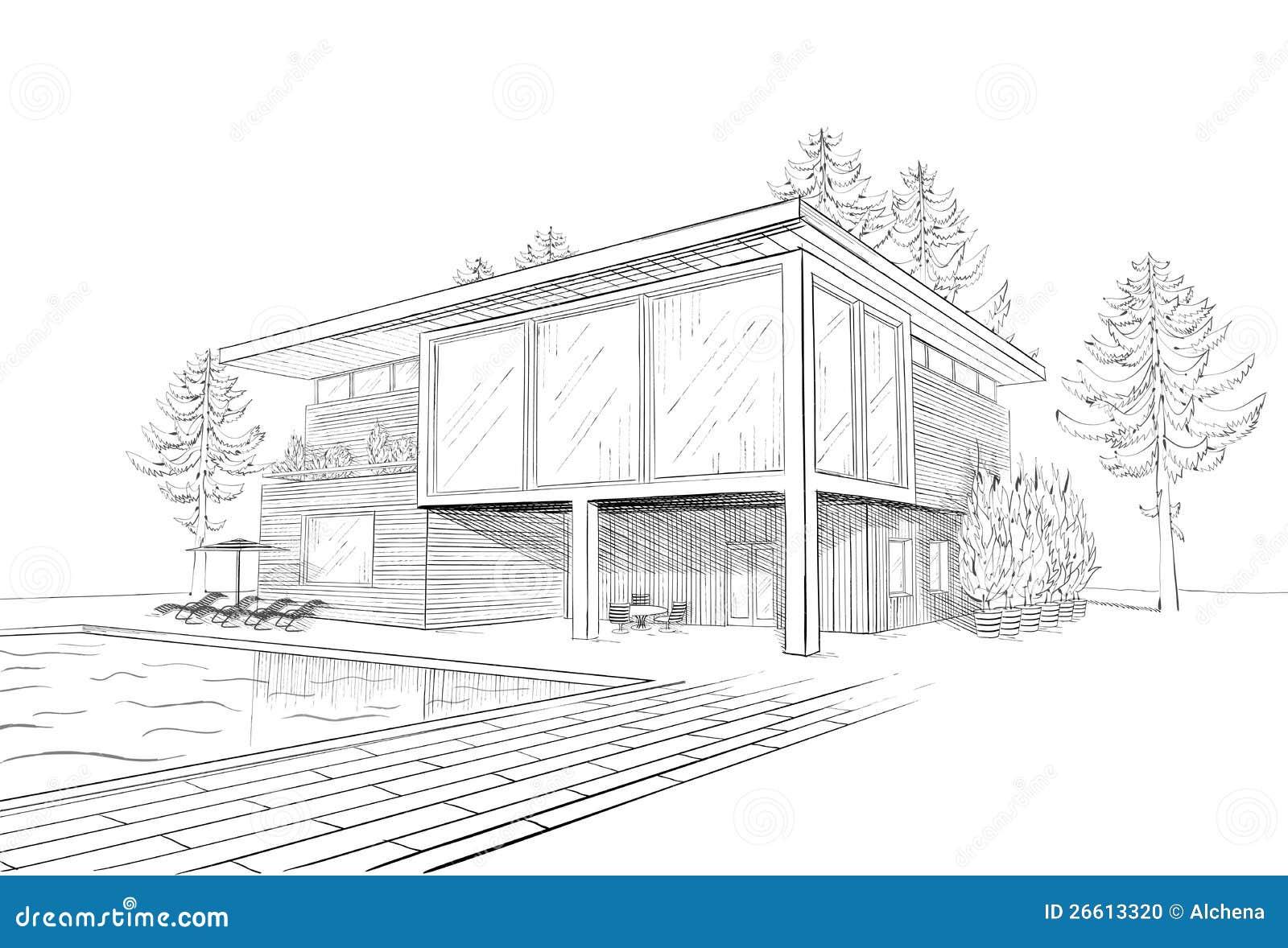 Croquis Pièces Maison : Croquis de vecteur maison moderne avec la piscine photo