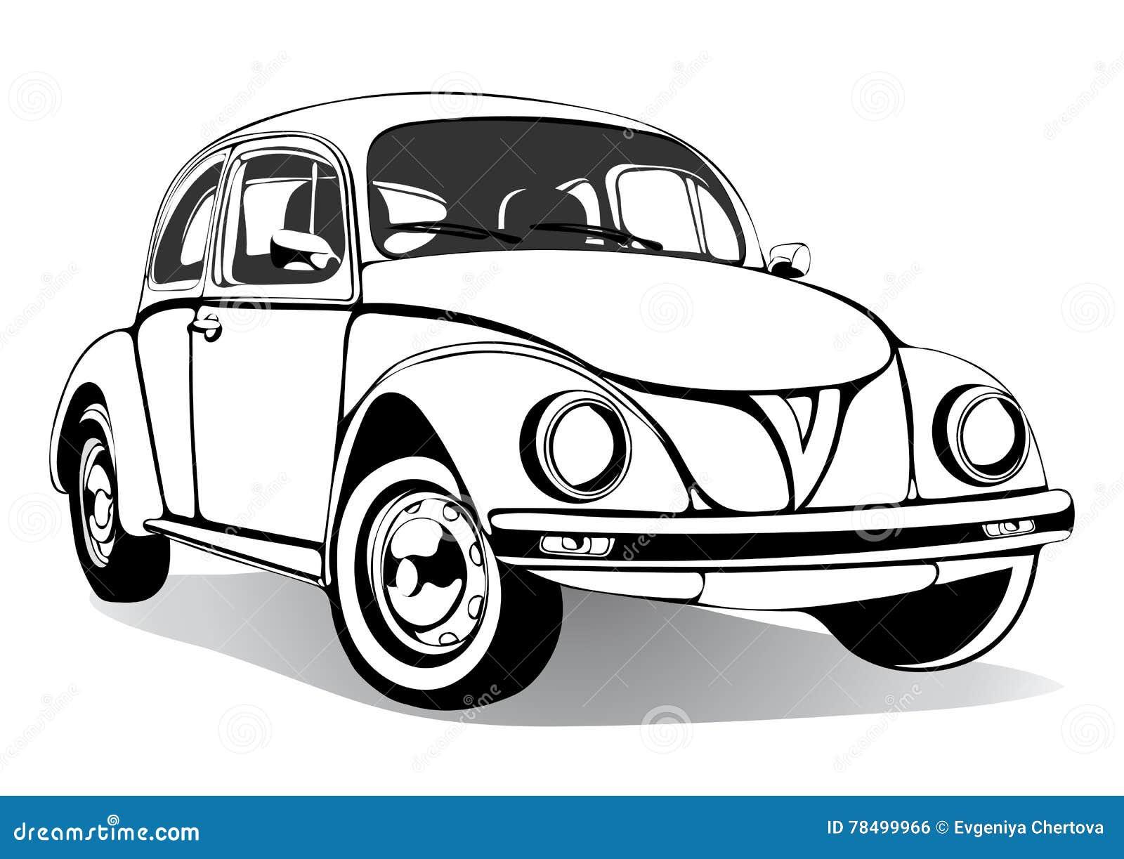 Croquis de voiture de vintage livre de coloriage dessin noir et blanc monochrome r tro - Coloriage noir et blanc ...