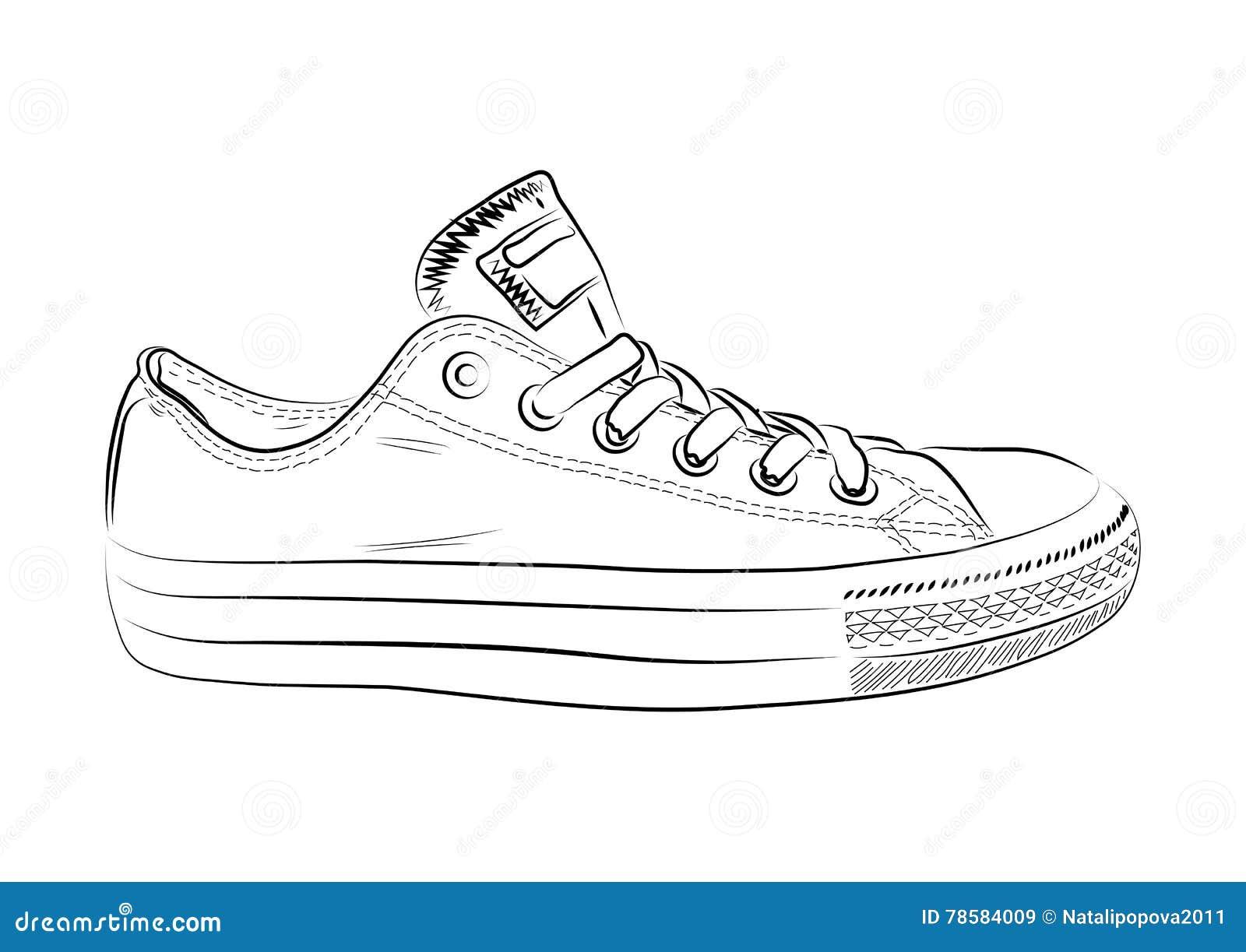 Q18t7nw Illustration Sports Croquis Des Fond Chaussures Un Blanc Sur De bv7Y6yfg