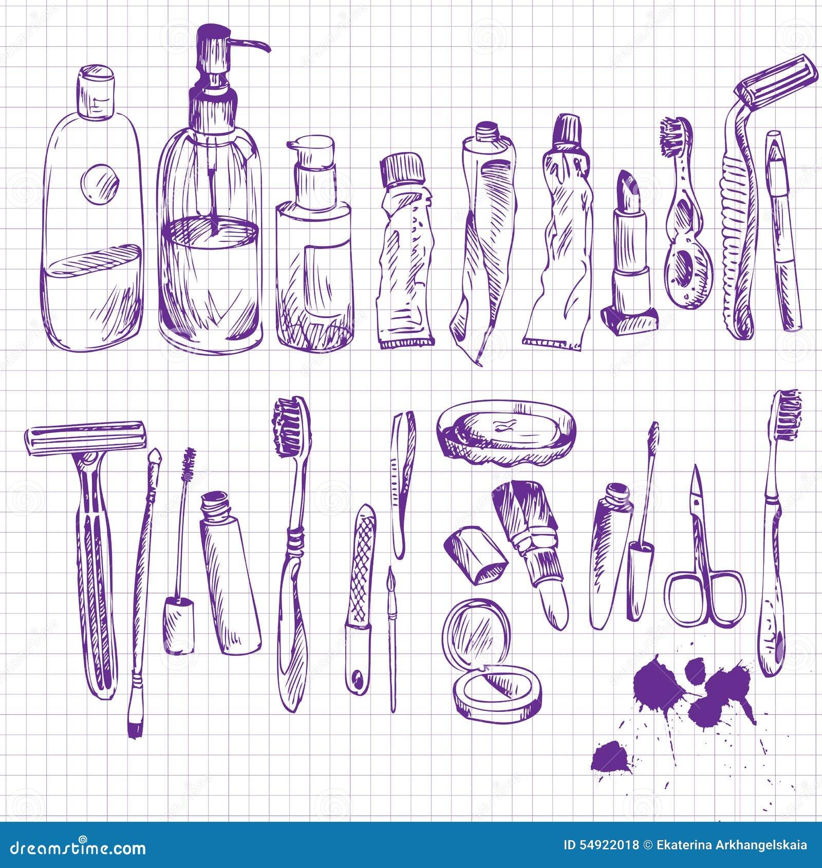 Croquis des objets de salle de bains illustration de for Croquis de salle de bain