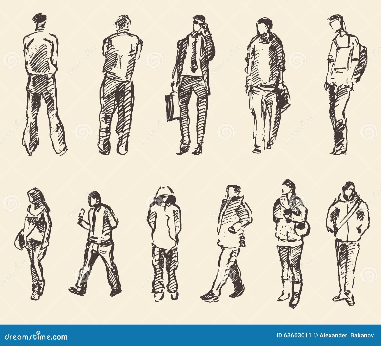 Extrêmement Croquis Du Dessin De Main D'illustration De Vecteur De Personnes  XX23