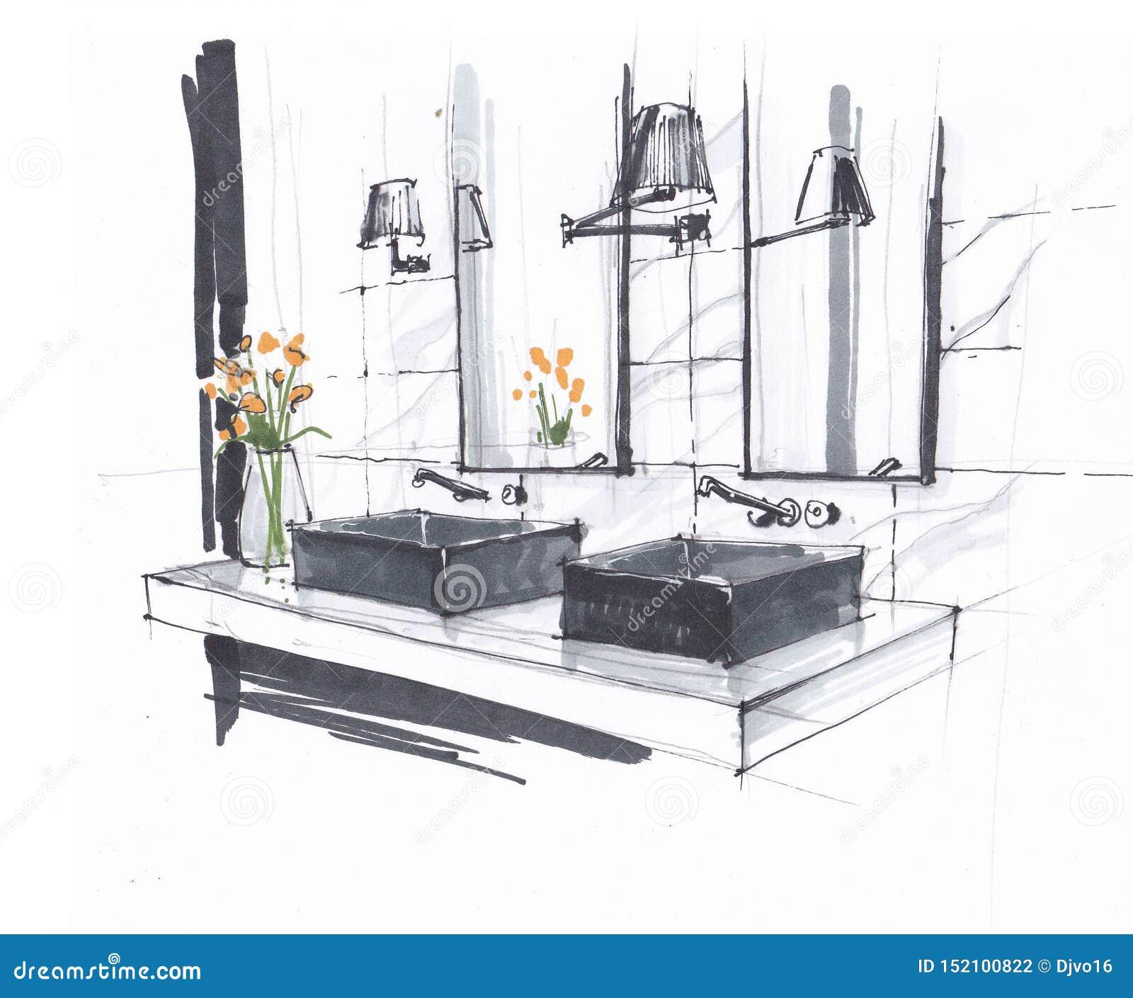 Croquis fait main d une salle de bains moderne de luxe, de deux éviers avec les robinets et le miroir, de lampes fixées au mur et