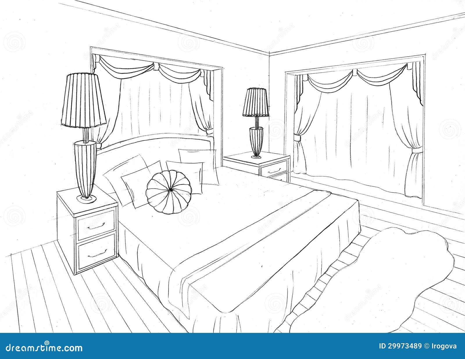Croquis graphique d 39 un appartement int rieur images libres - Croquis chambre a coucher ...