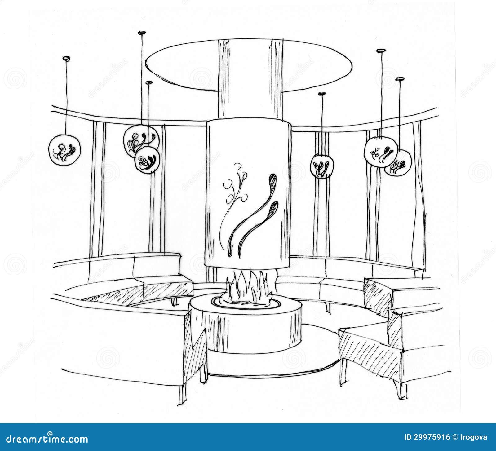 Croquis graphique d 39 un salon int rieur image libre de for Croquis salon