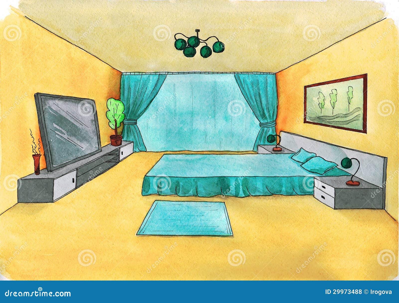 Croquis graphique d une chambre coucher int rieure for Perspectives dune chambre