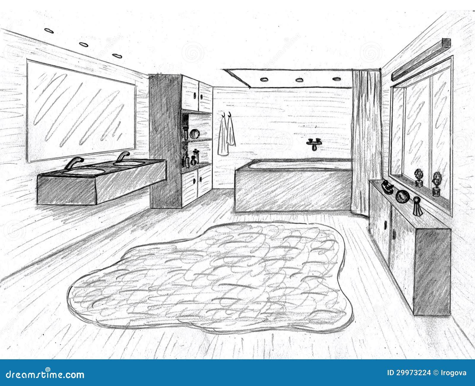 Croquis graphique for Croquis de salle de bain